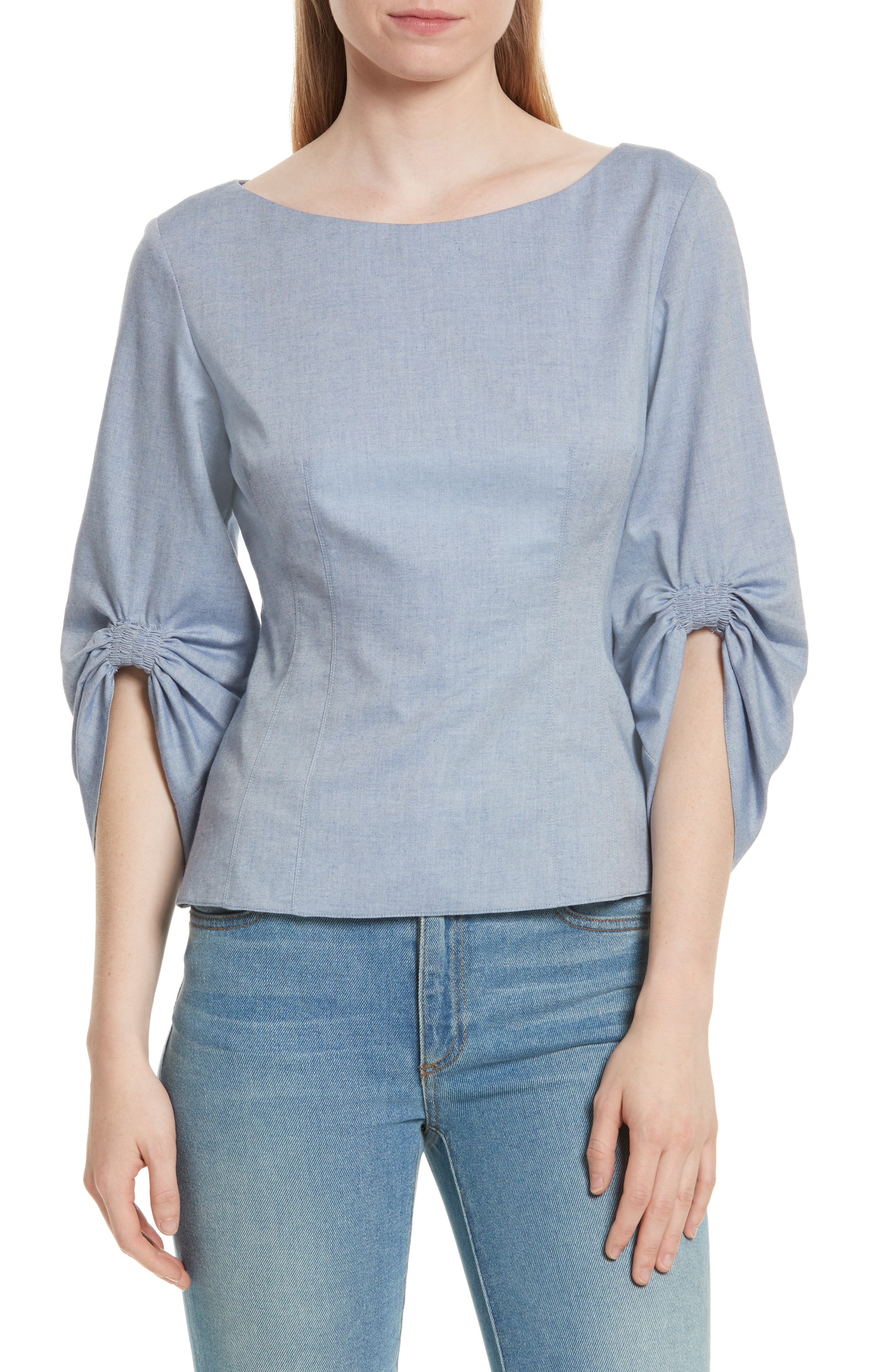 Corset Ruched Sleeve Top,                         Main,                         color, Blue