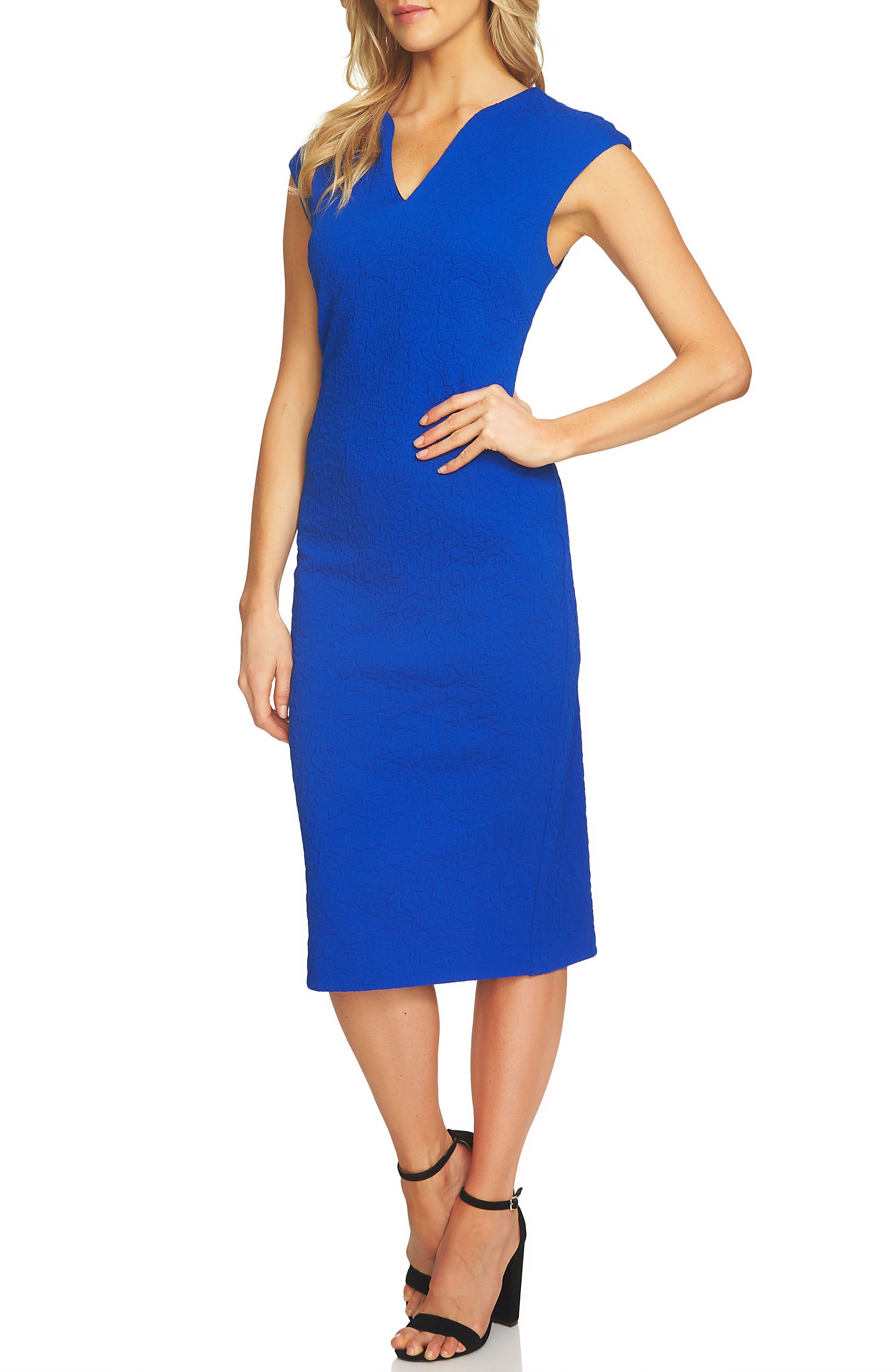Paisley Jacquard Sheath Dress,                         Main,                         color, Deep Royal Blue
