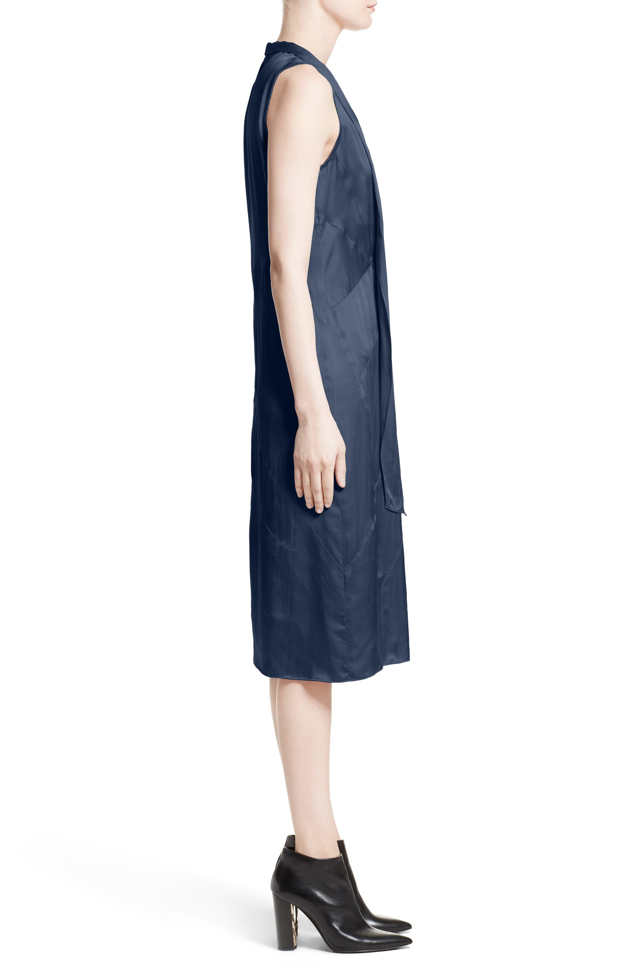 Cathy Tie Neck Silk Dress,                             Alternate thumbnail 3, color,                             Navy