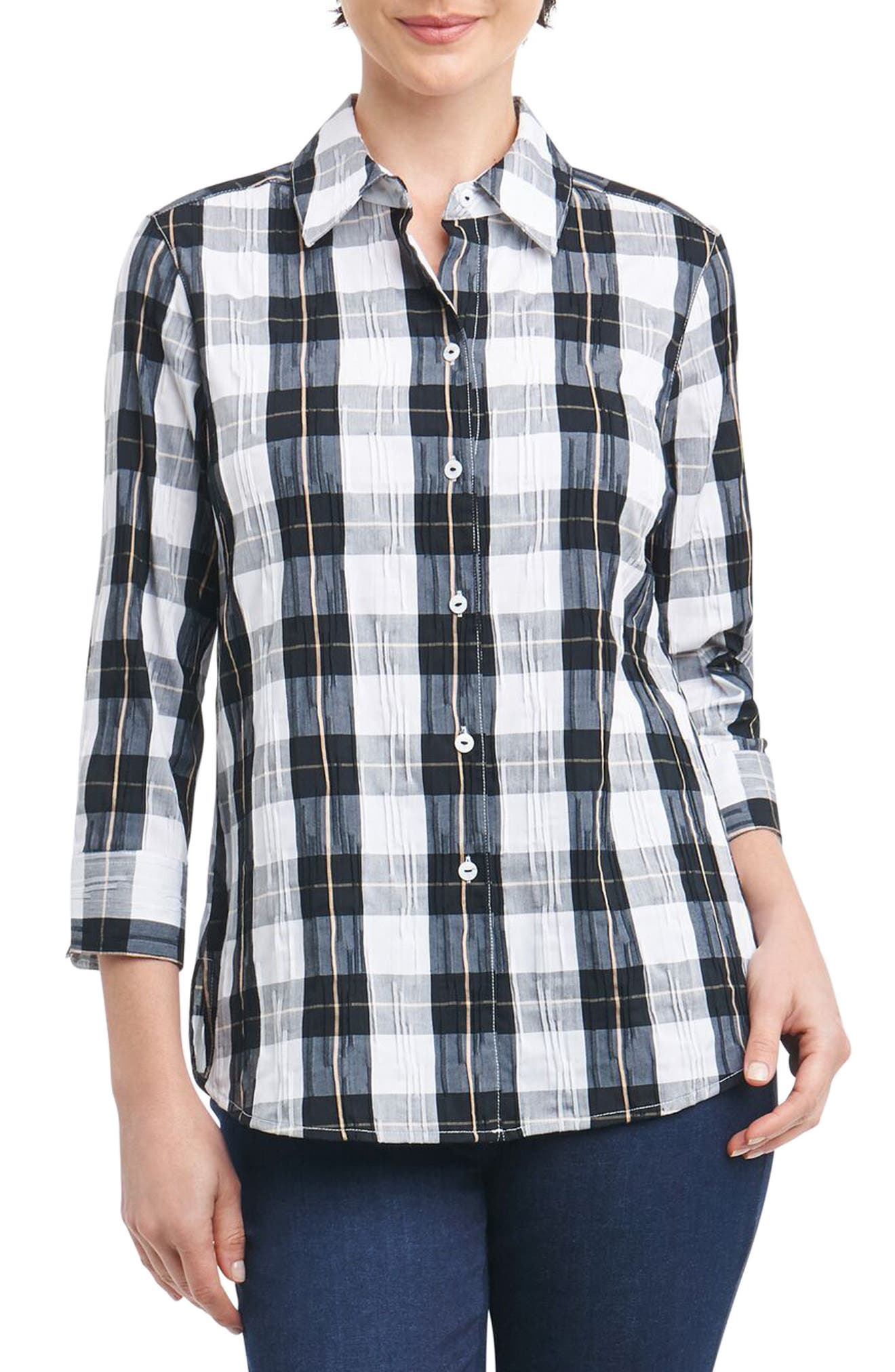 Alternate Image 1 Selected - Foxcroft Sue Shaped Fit Crinkle Plaid Shirt (Regular & Petite)