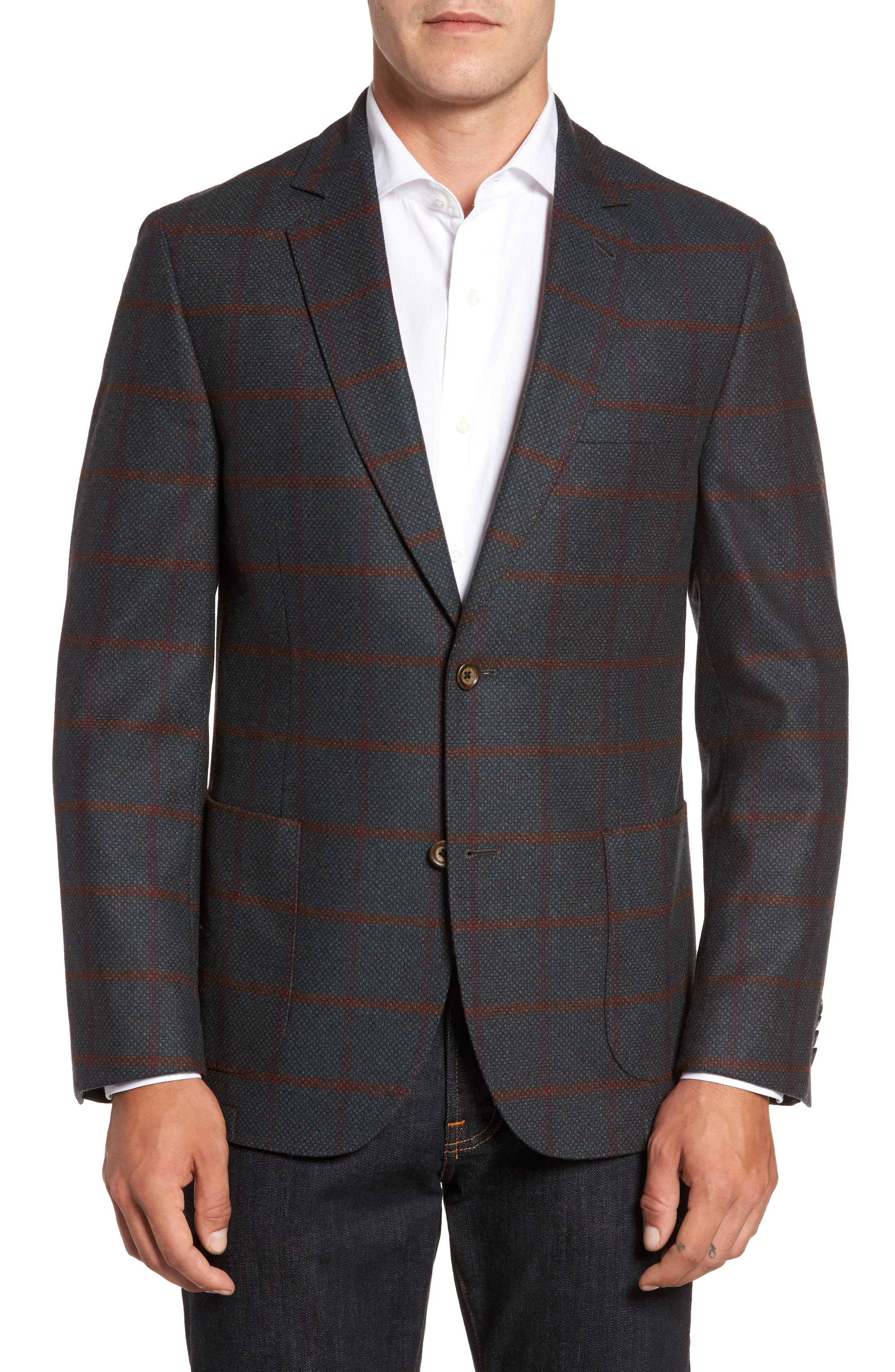 Classic Fit Windowpane Wool Sport Coat,                             Main thumbnail 1, color,                             Green