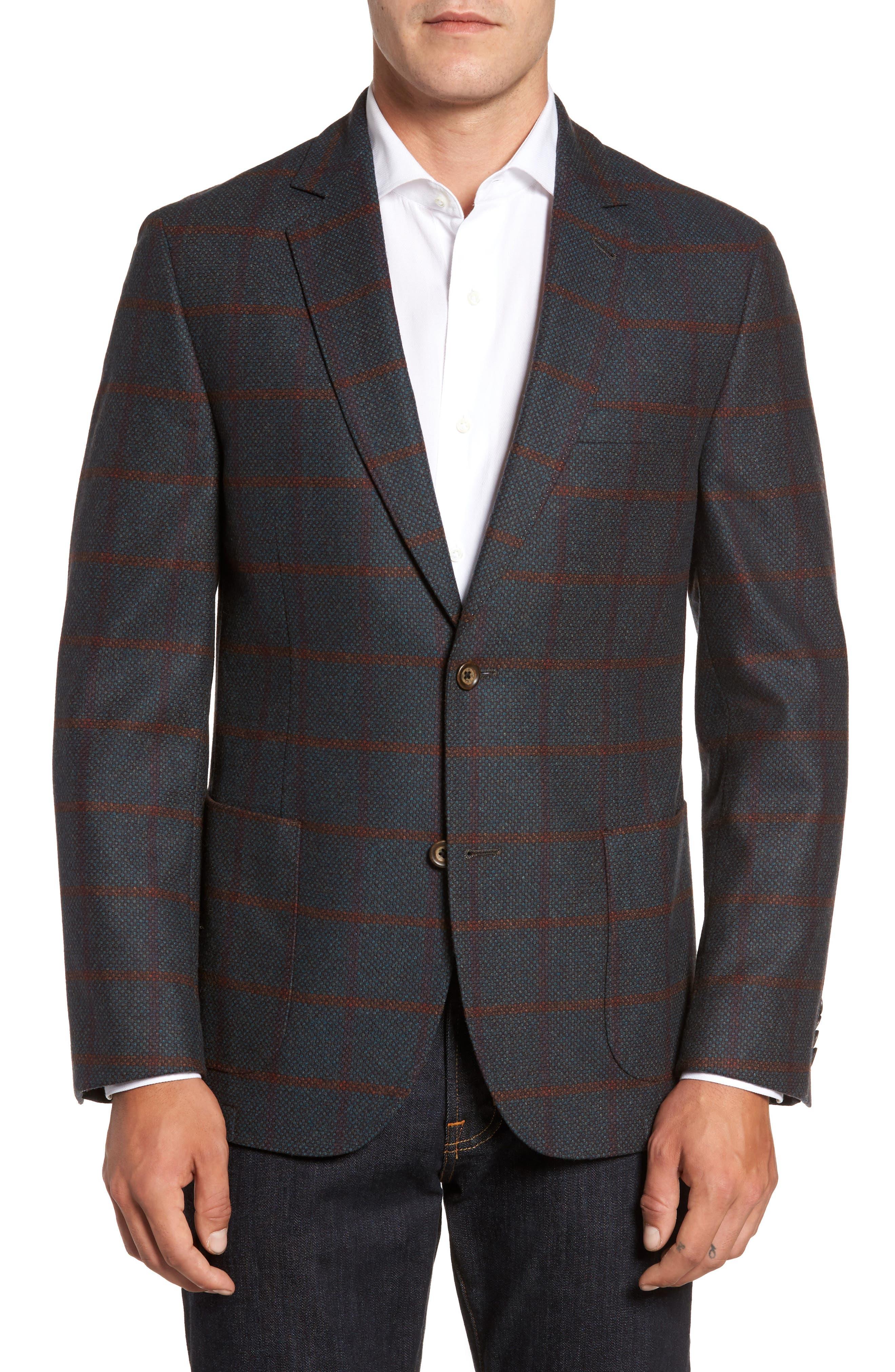 FLYNT Classic Fit Windowpane Wool Sport Coat