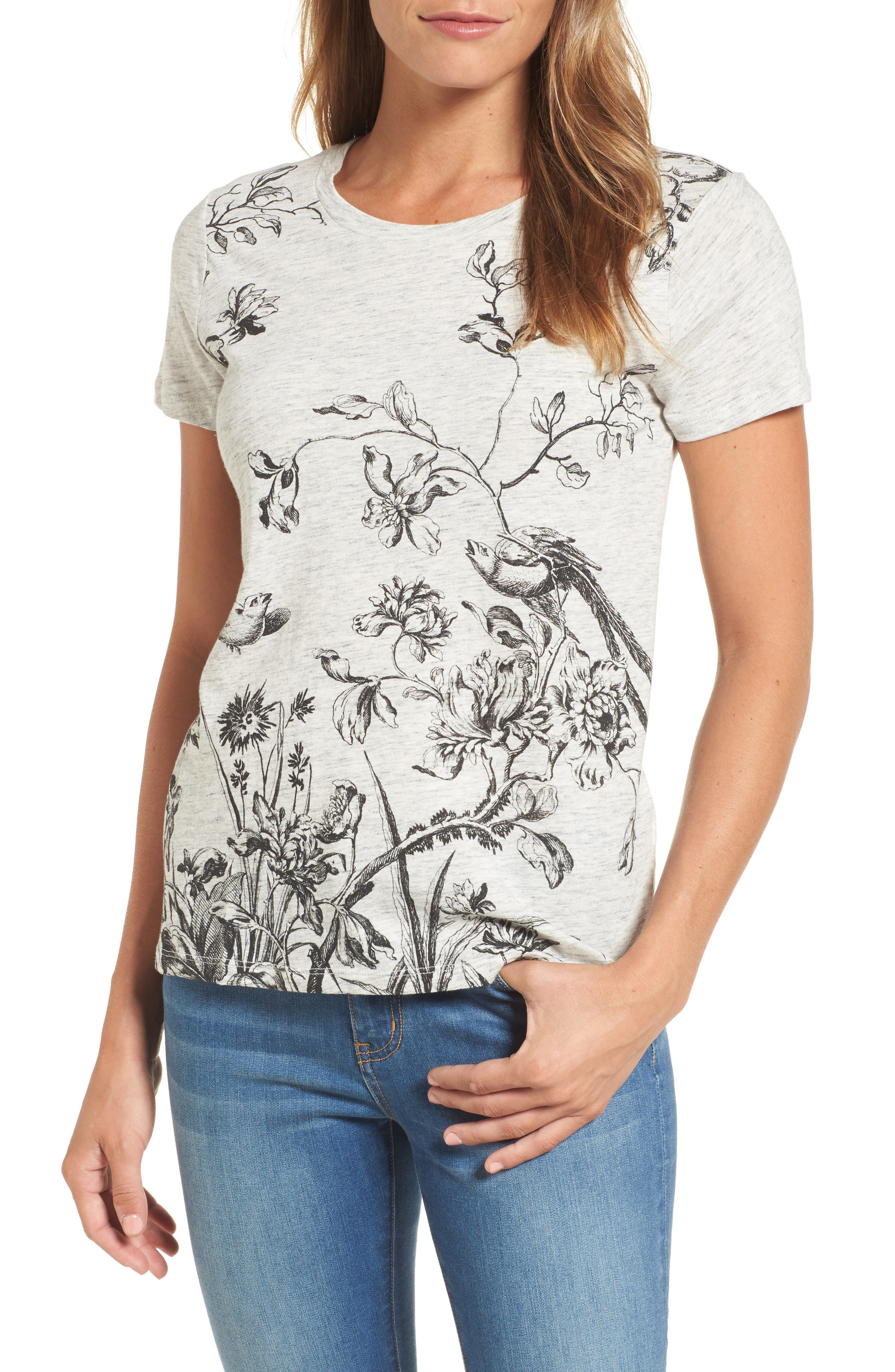 Alternate Image 1 Selected - Lucky Brand Floral Print Tee