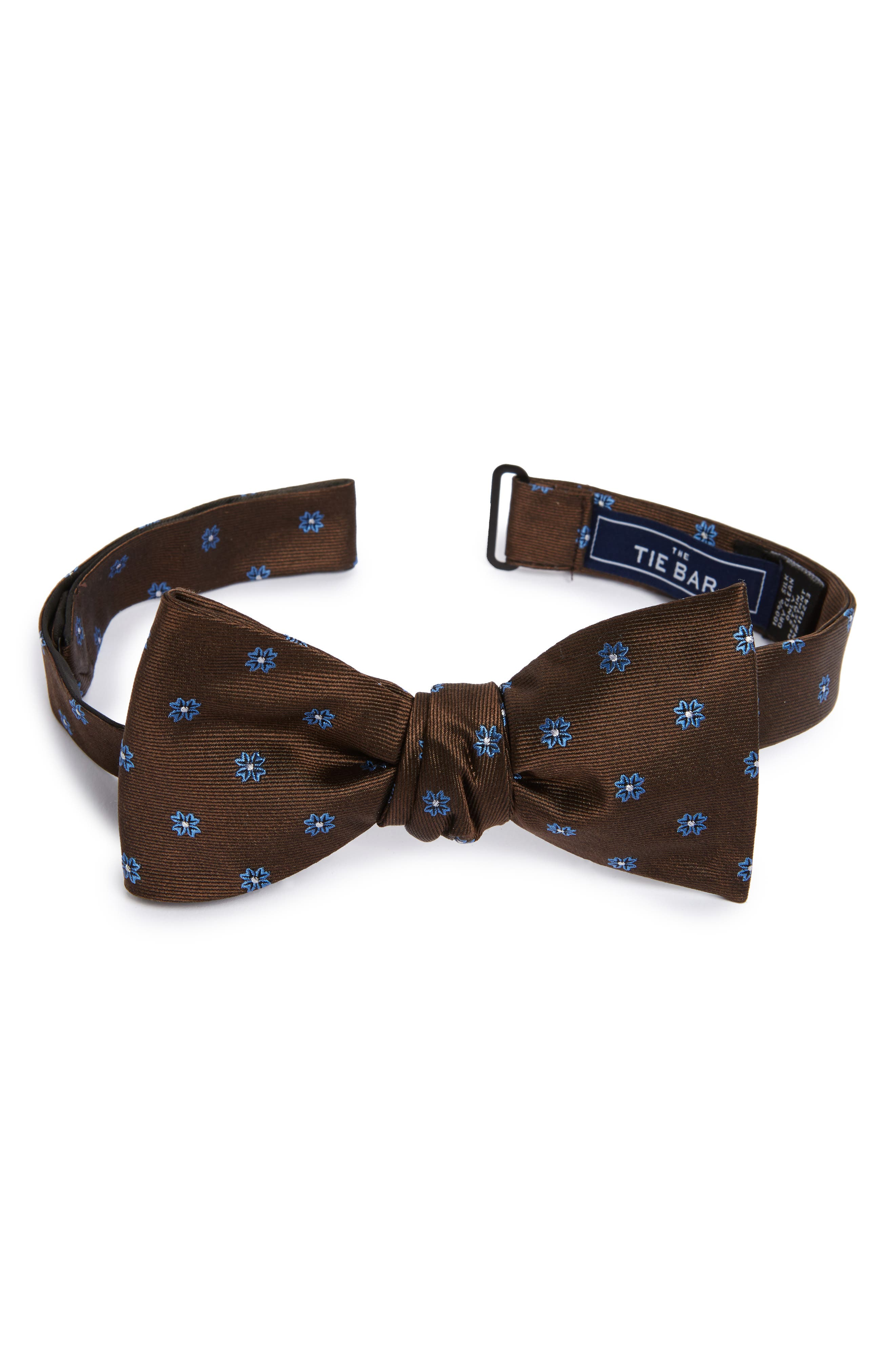 Floral Span Silk Bow Tie,                             Main thumbnail 1, color,                             Chocolate Brown