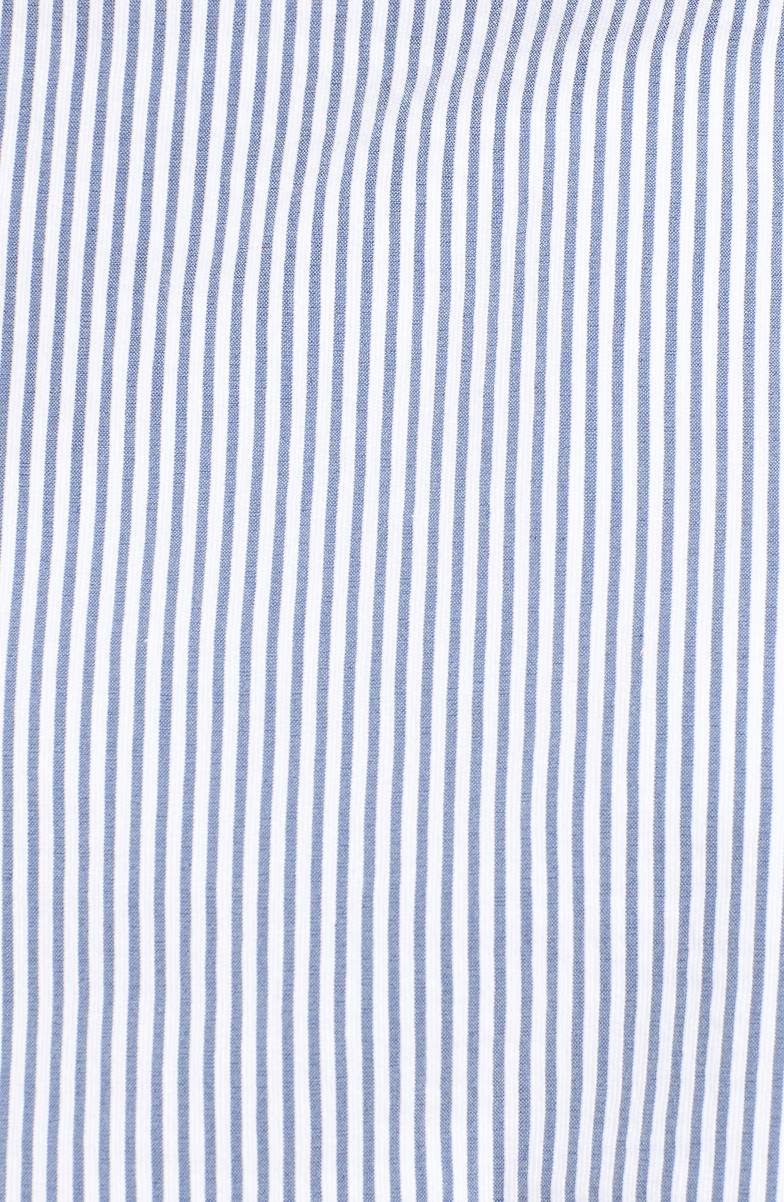 Ruffle Sleeve Open Jacket,                             Alternate thumbnail 5, color,                             Blue- White Seersucker