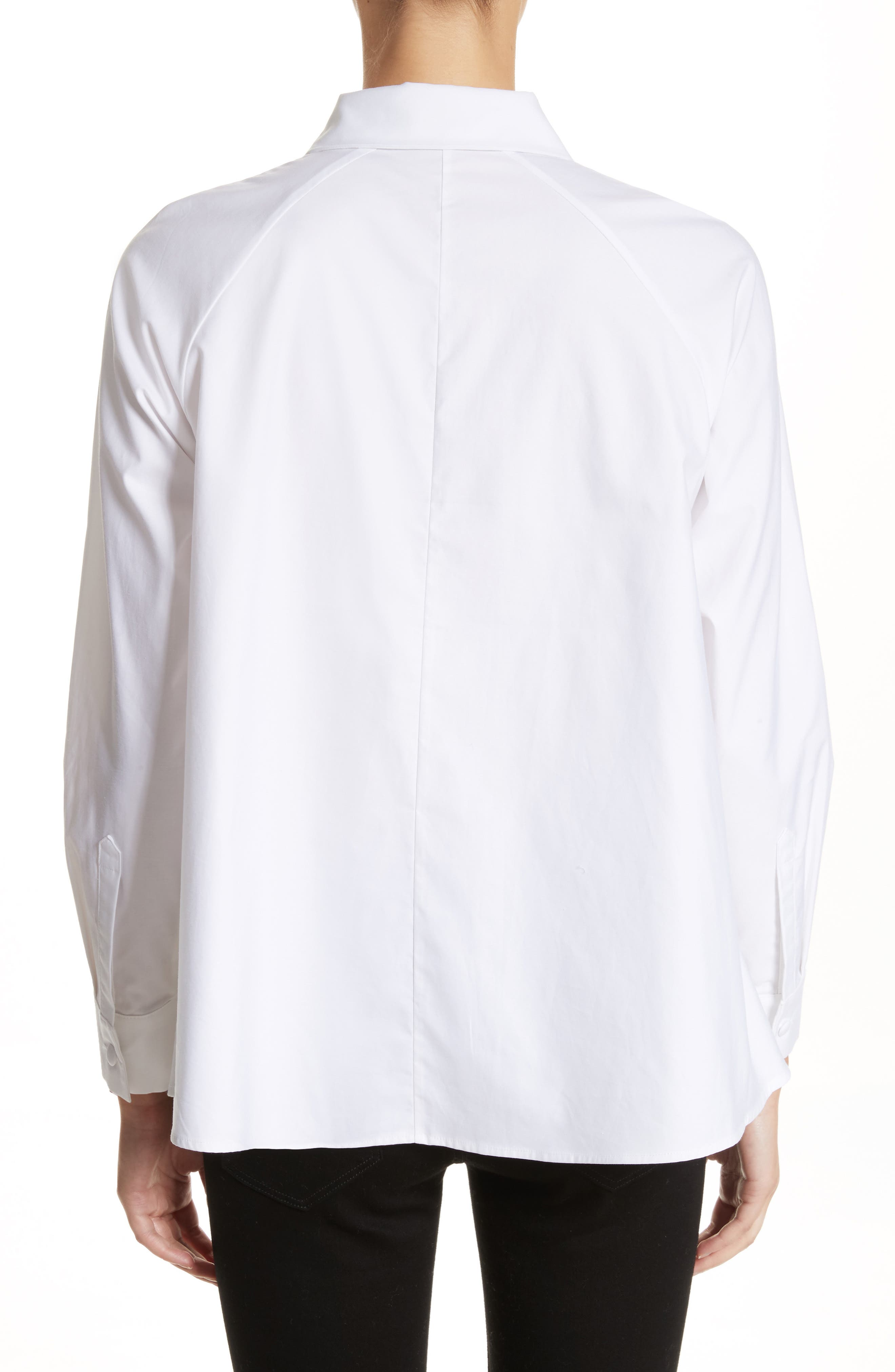 Cotton Poplin Top,                             Alternate thumbnail 2, color,                             White