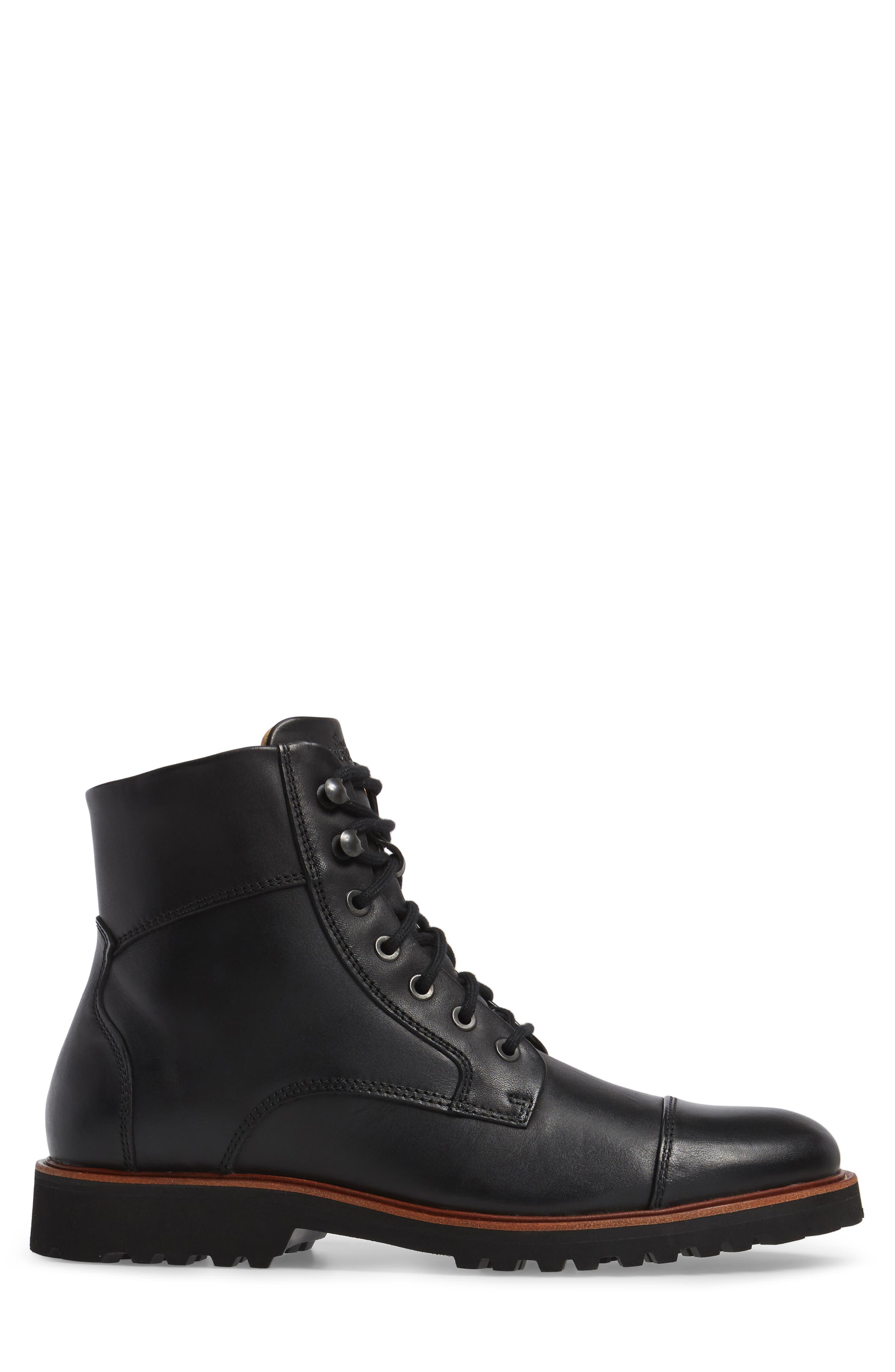 Uptown Maverick Cap Toe Boot,                             Alternate thumbnail 3, color,                             Black Leather