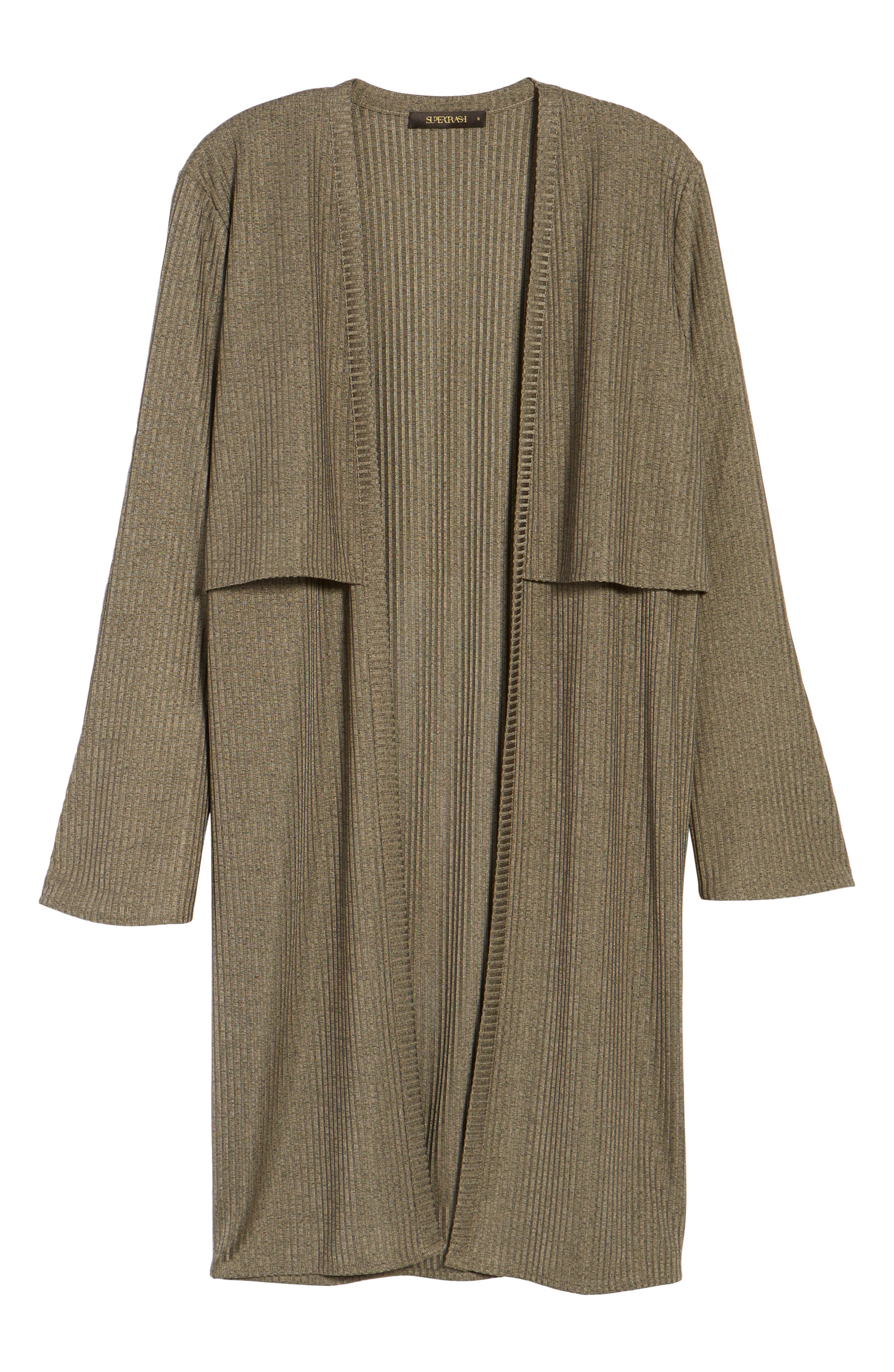 Casey Open Front Cardigan,                             Alternate thumbnail 6, color,                             Deep Army Melange
