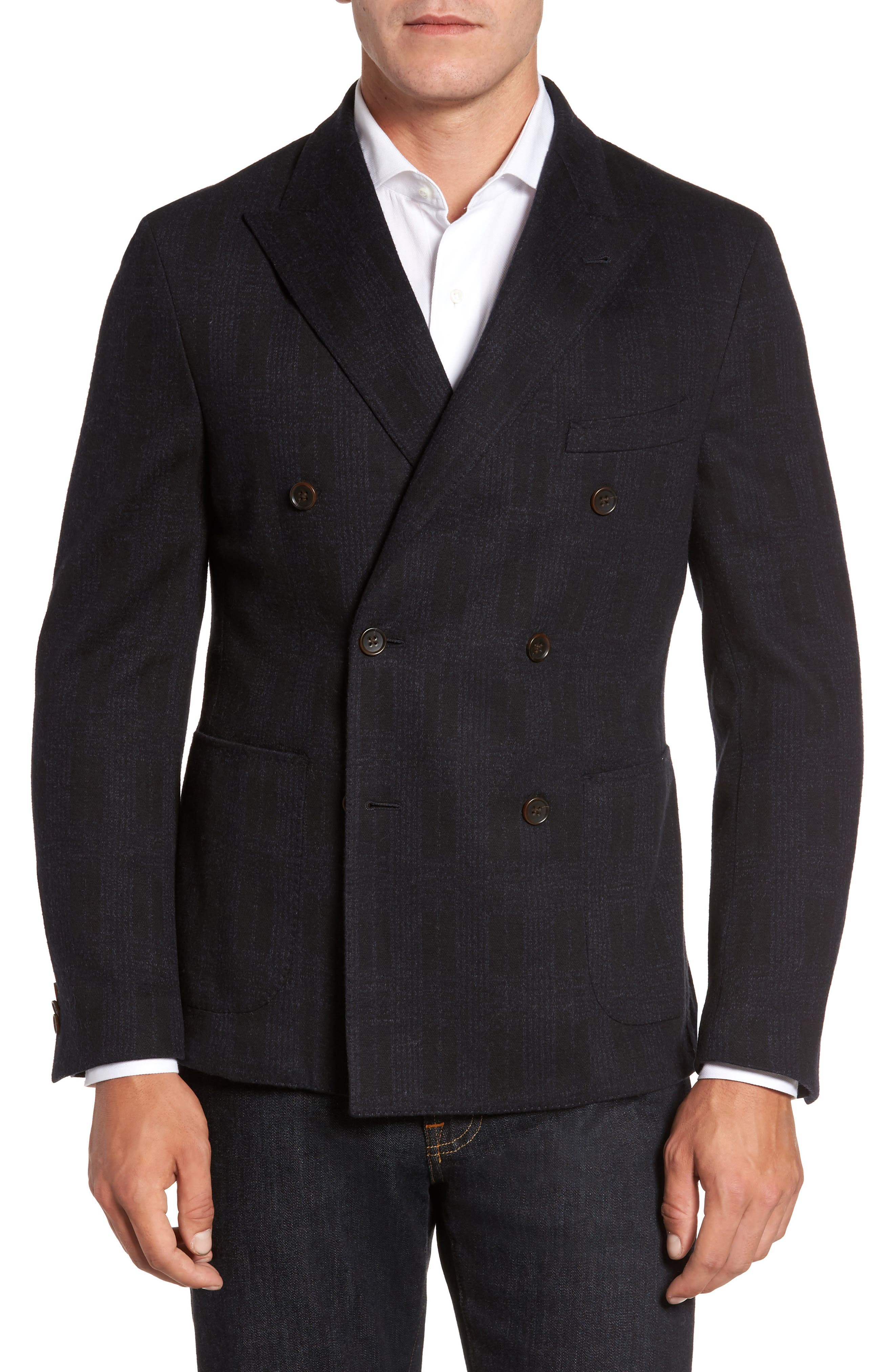 Classic Fit Jersey Double-Breasted Sport Coat,                         Main,                         color, Black