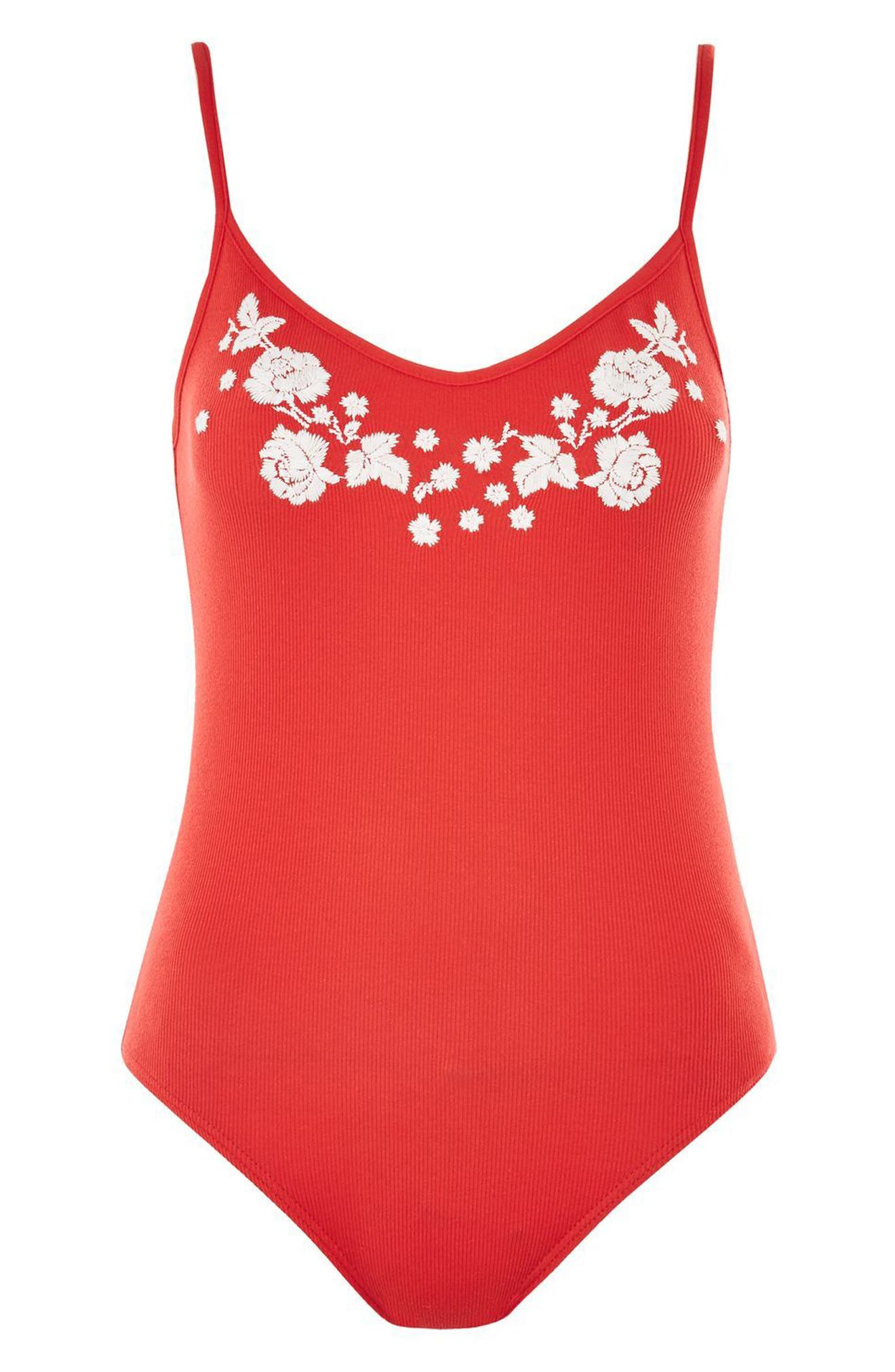 Embroidered Tie Back Bodysuit,                             Alternate thumbnail 3, color,                             Red Multi