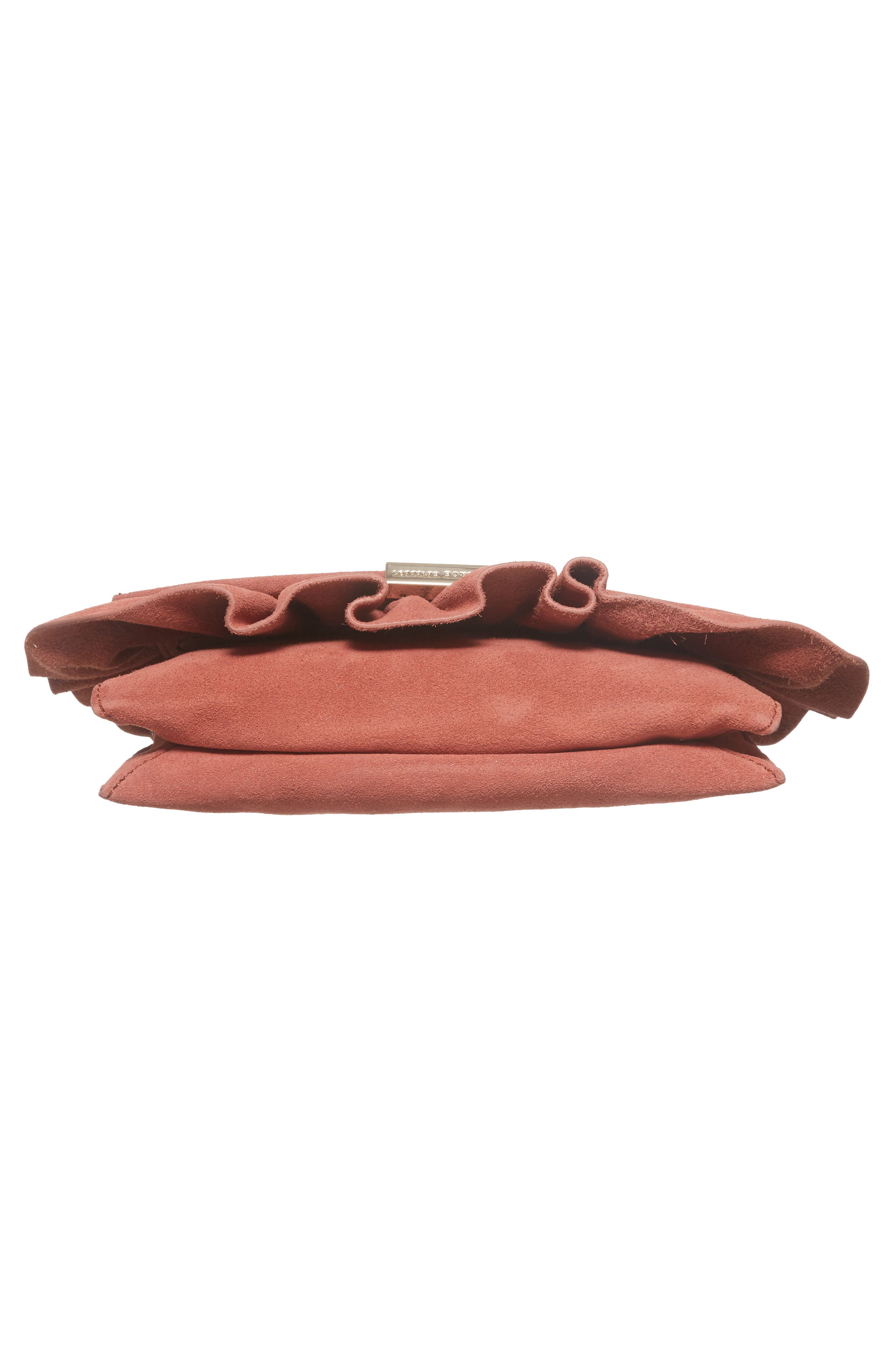 Ruffle Clutch,                             Alternate thumbnail 6, color,                             Dusty Rose