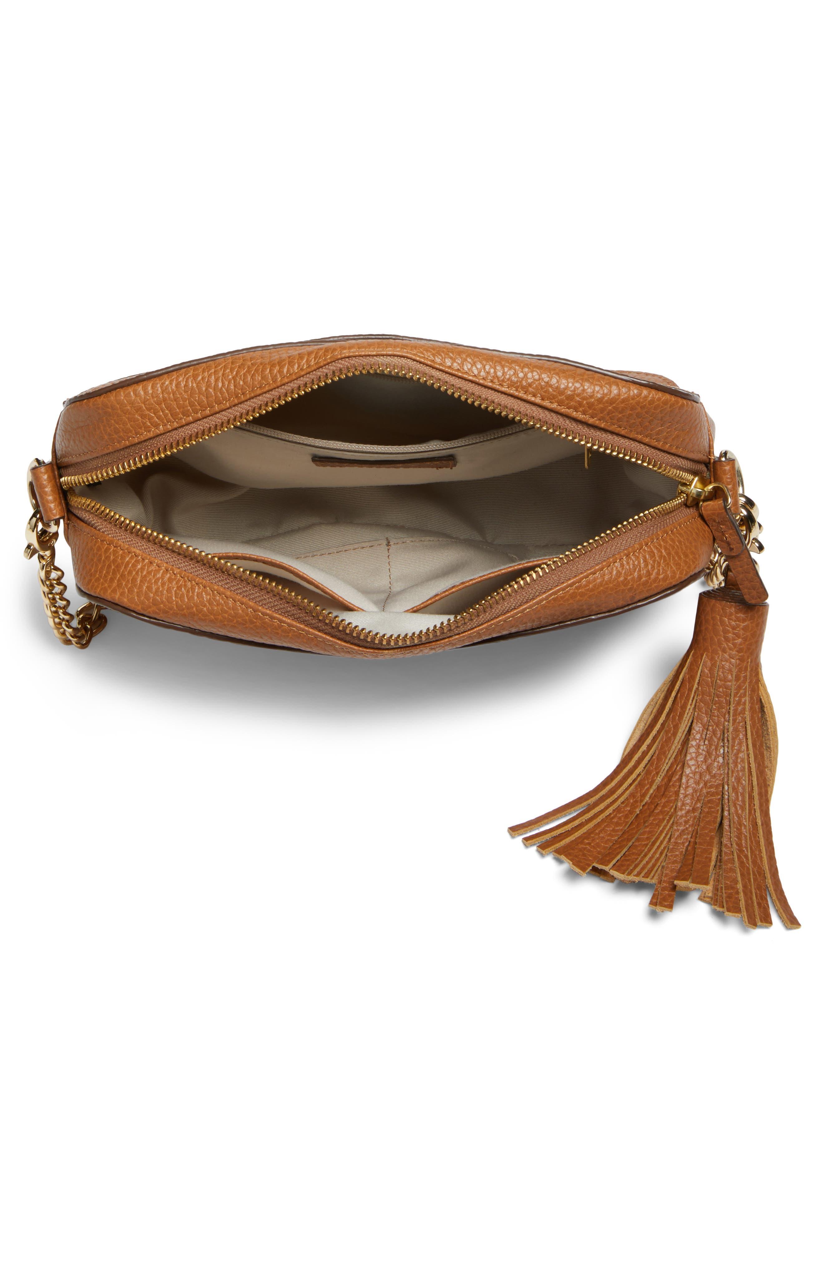 Ella Tassel Leather Crossbody Bag,                             Alternate thumbnail 4, color,                             Tan Spice