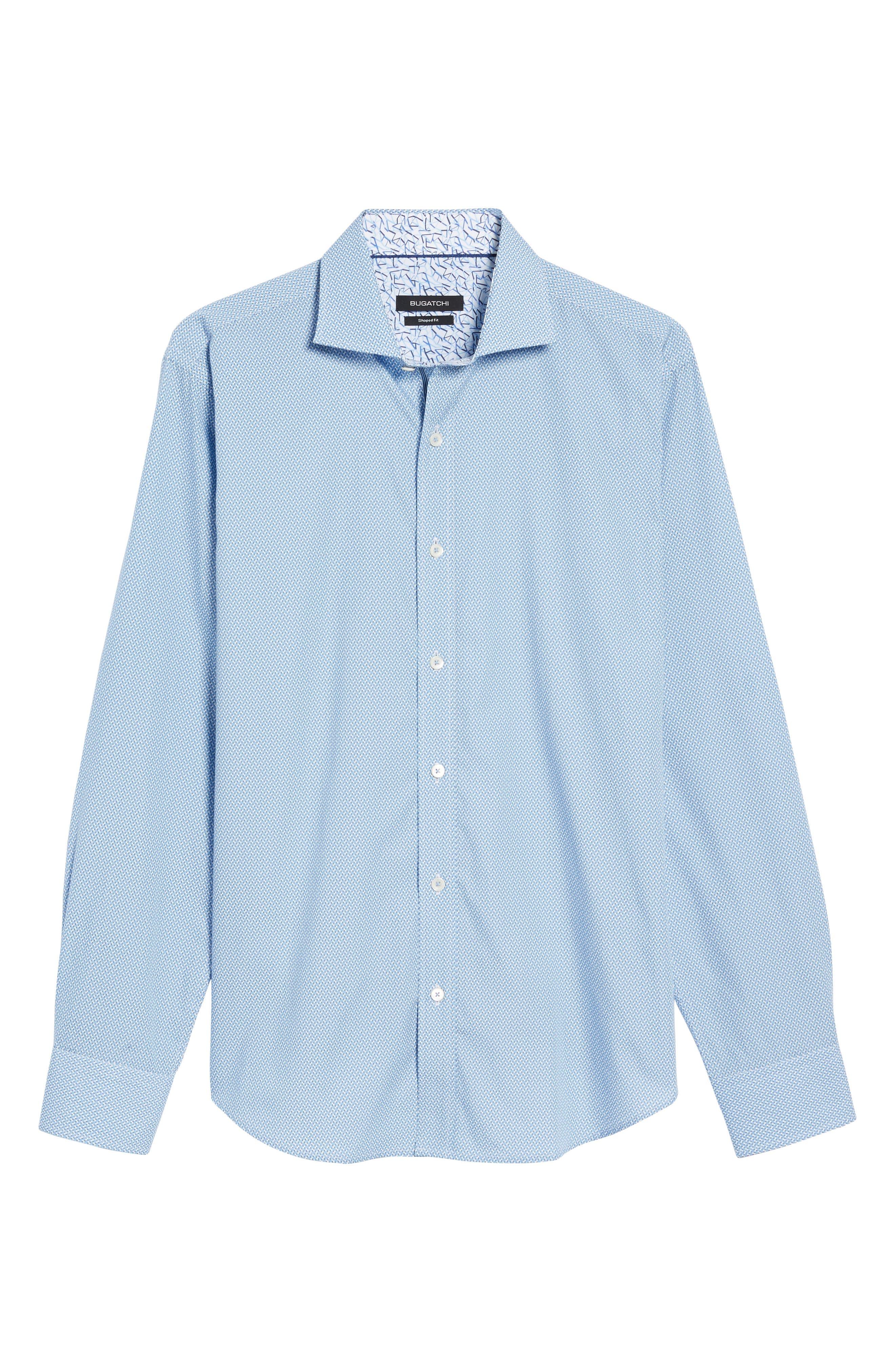 Shaped Fit Print Sport Shirt,                             Alternate thumbnail 6, color,                             Air Blue
