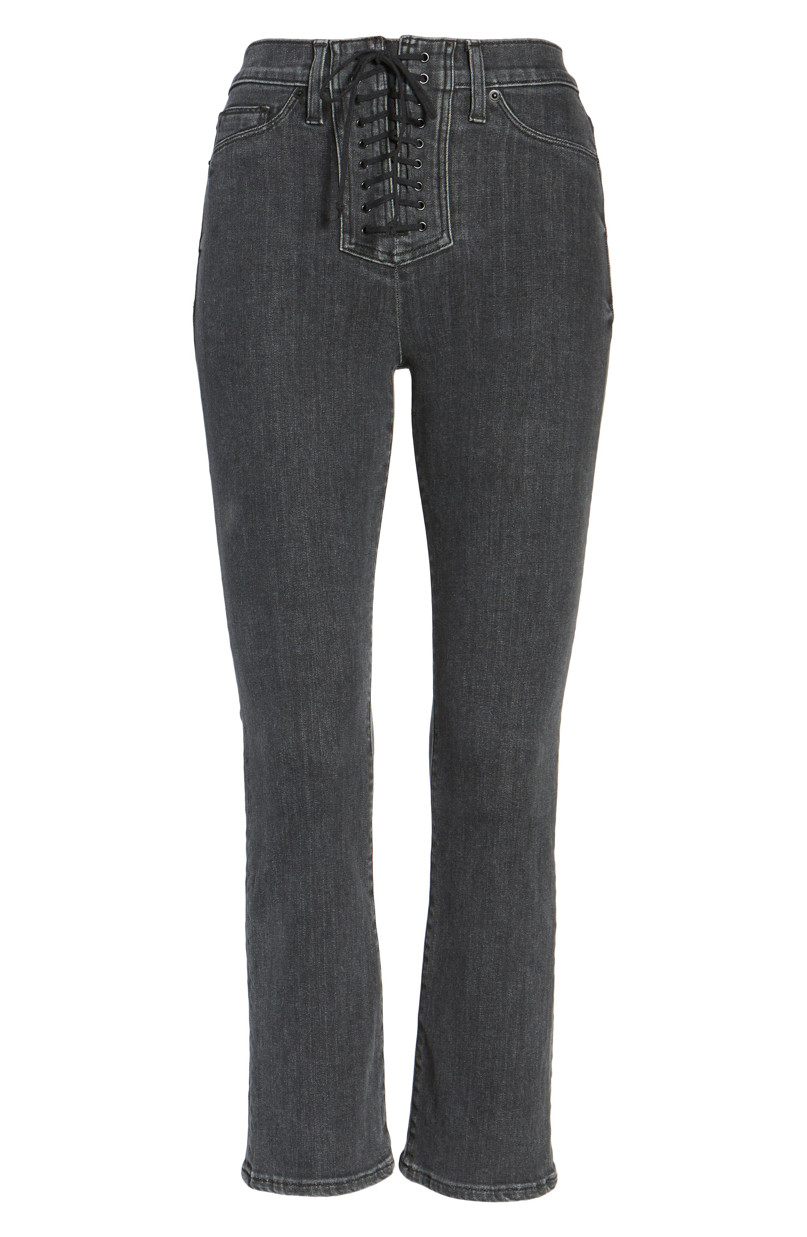 Alternate Image 6  - Hudson Jeans Bullocks High Waist Lace-Up Crop Jeans (Disarm)
