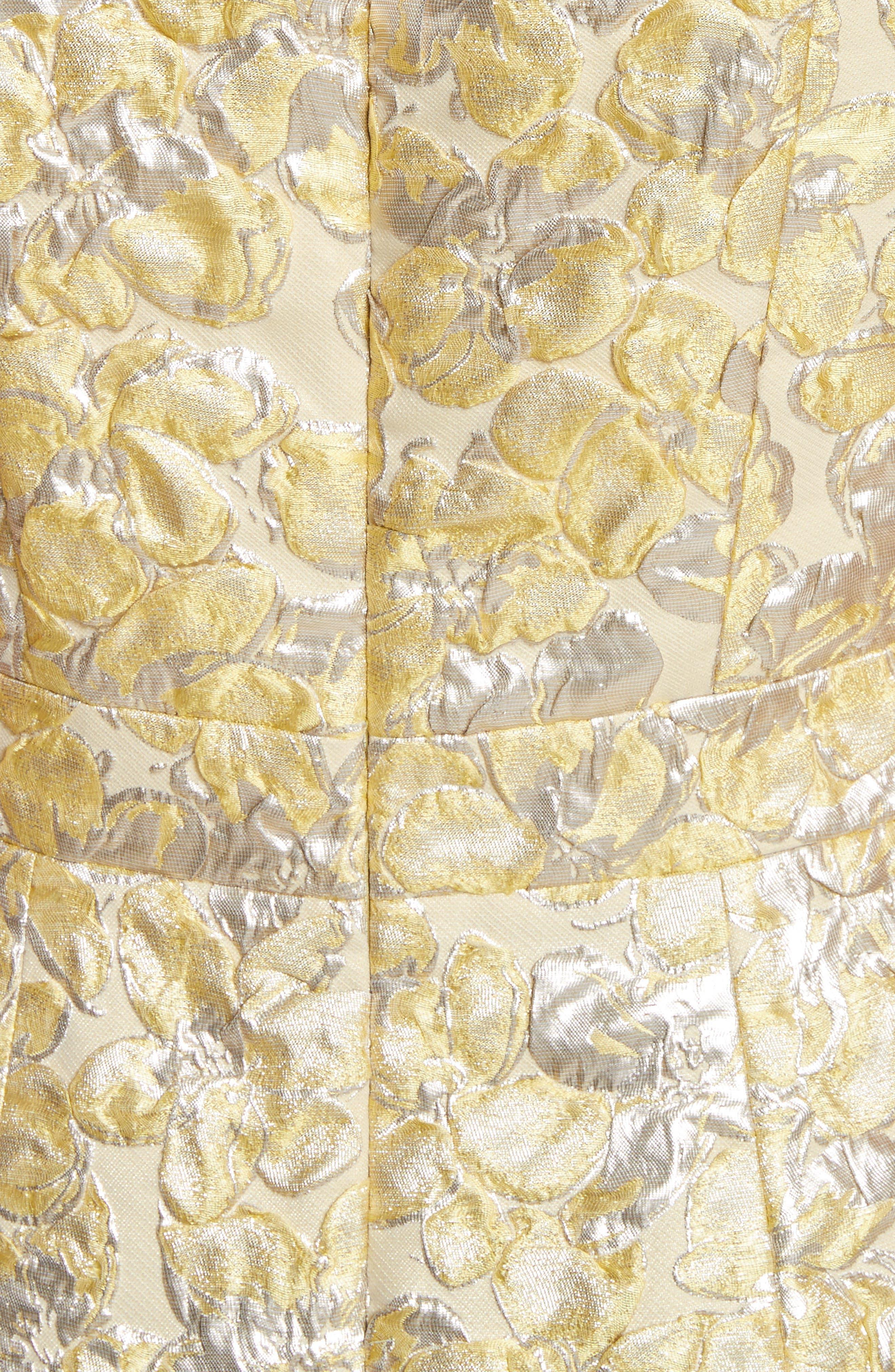 Metallic Floral Jacquard Dress,                             Alternate thumbnail 5, color,                             Lemon Multi