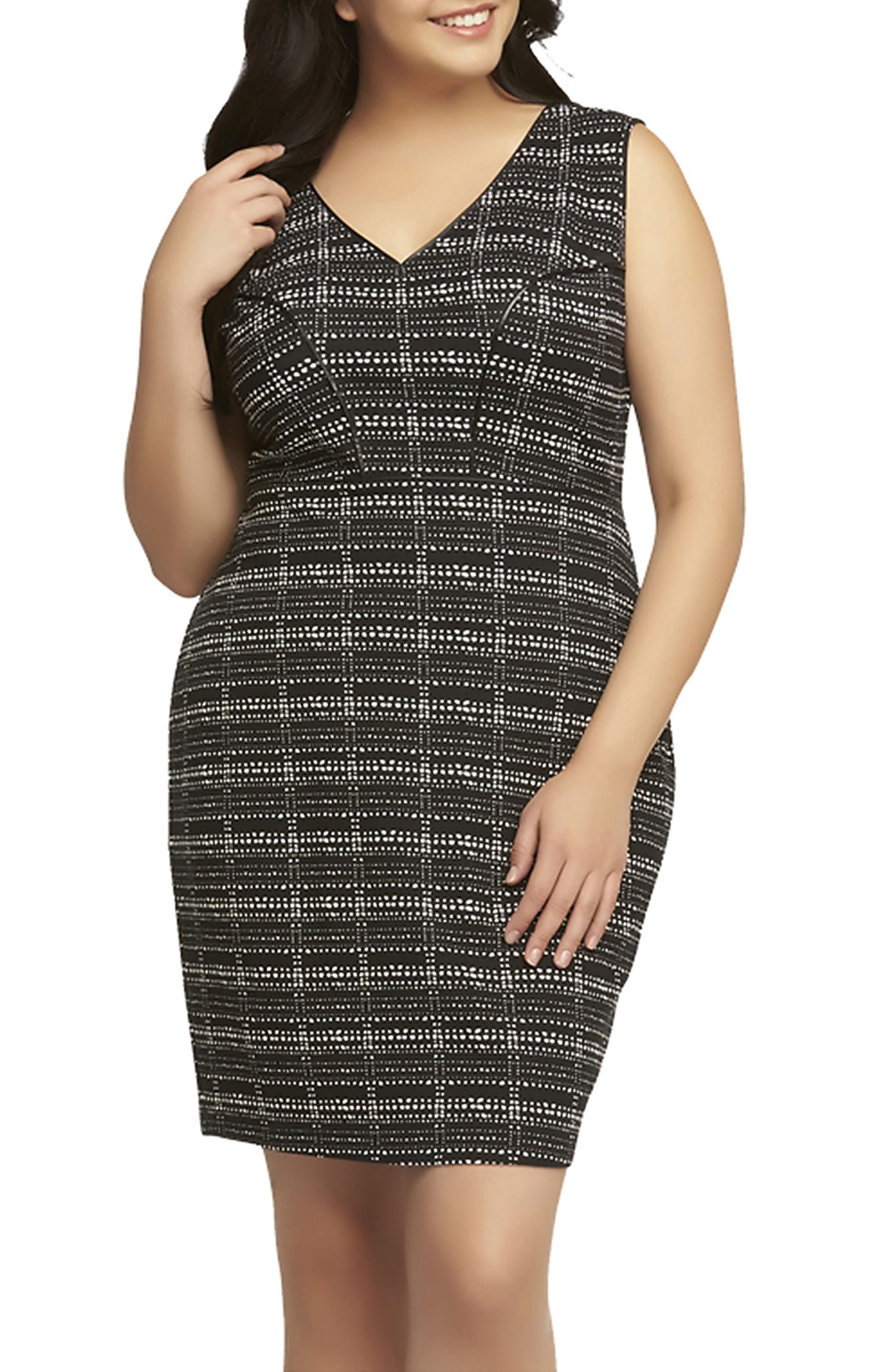 'Viera' Piped Detail V-Neck Sheath Dress,                         Main,                         color, Ink Plaid