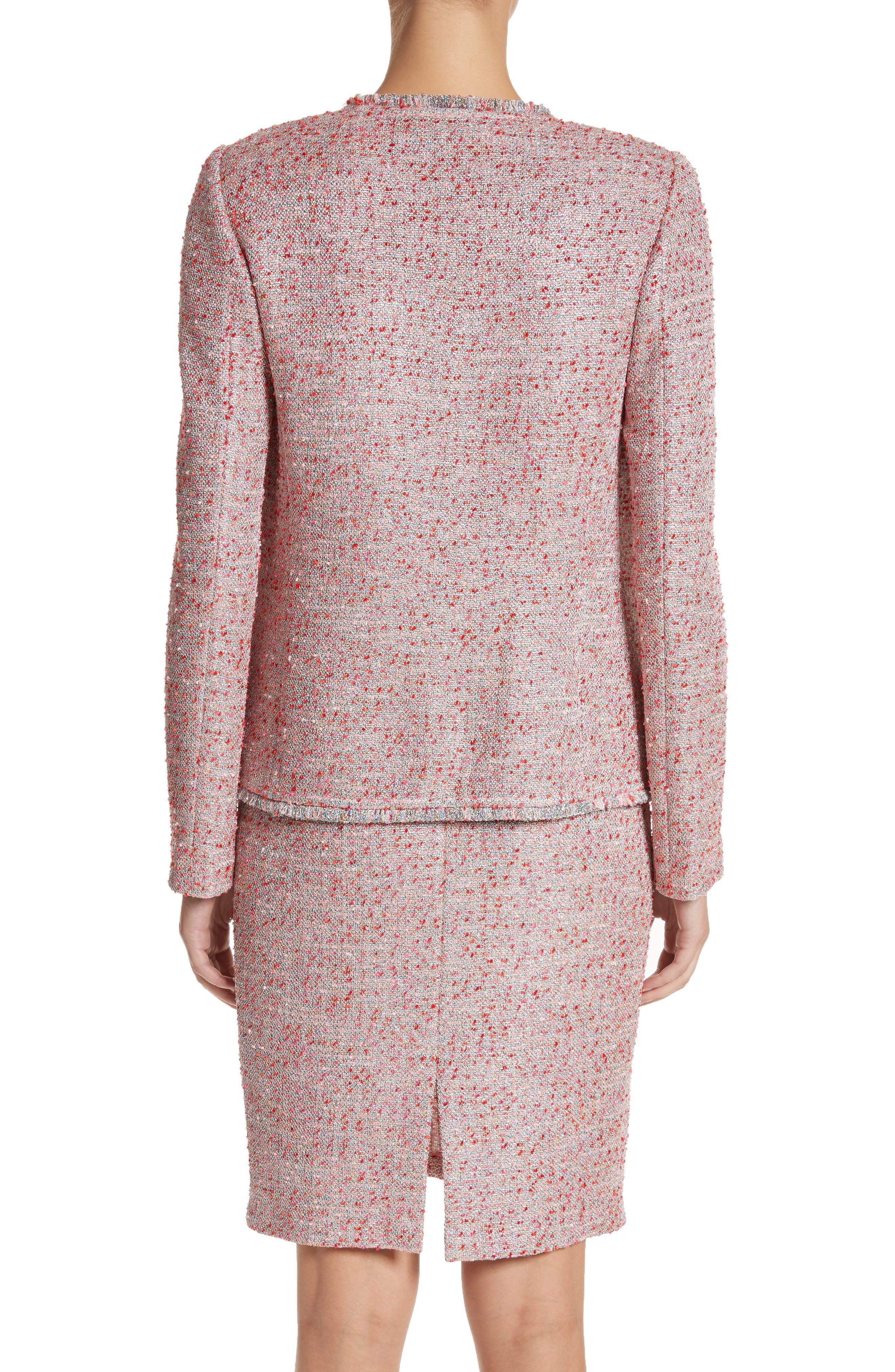Metallic Tweed Jacket,                             Alternate thumbnail 2, color,                             Rosa Multi