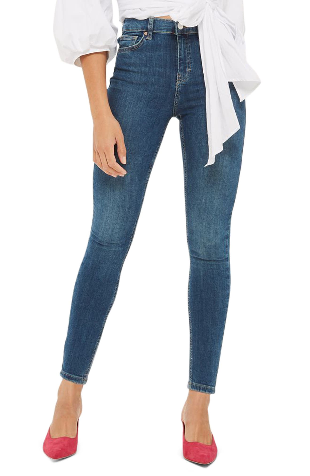 Main Image - Topshop Jamie High Waist Crop Skinny Jeans (Blue Green)