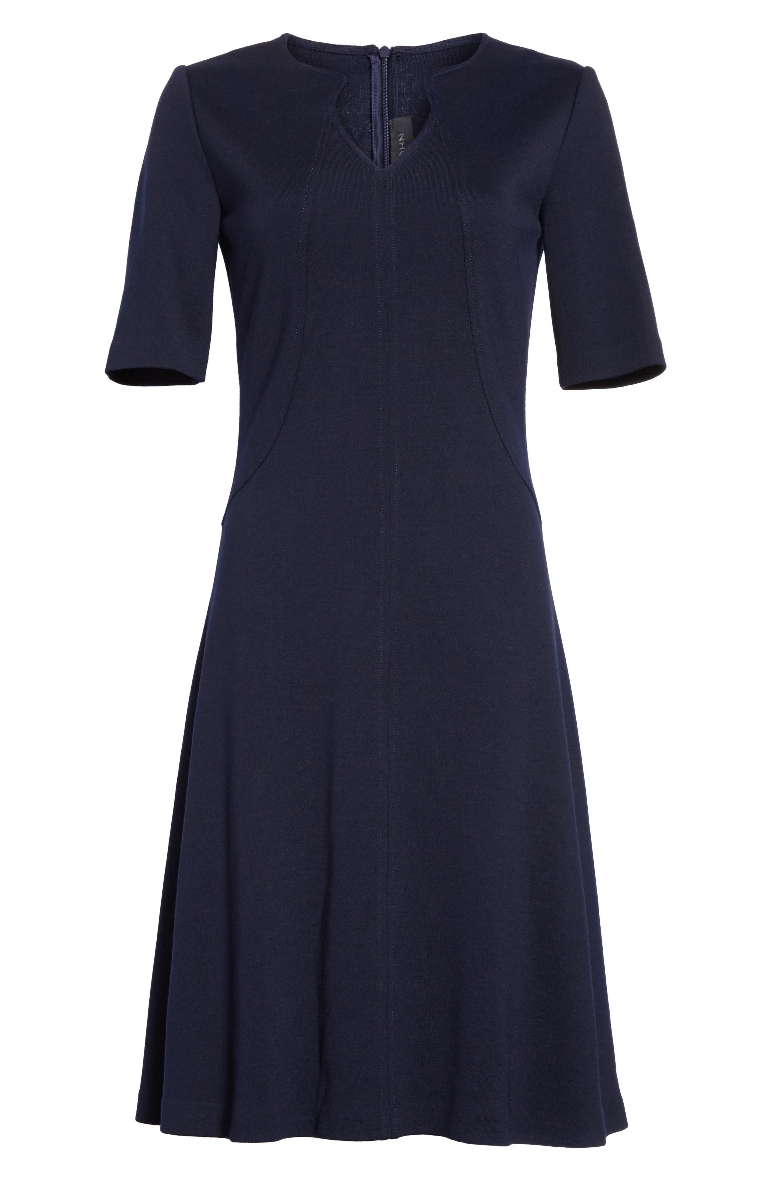 Milano Knit A-Line Dress,                             Alternate thumbnail 7, color,                             Navy
