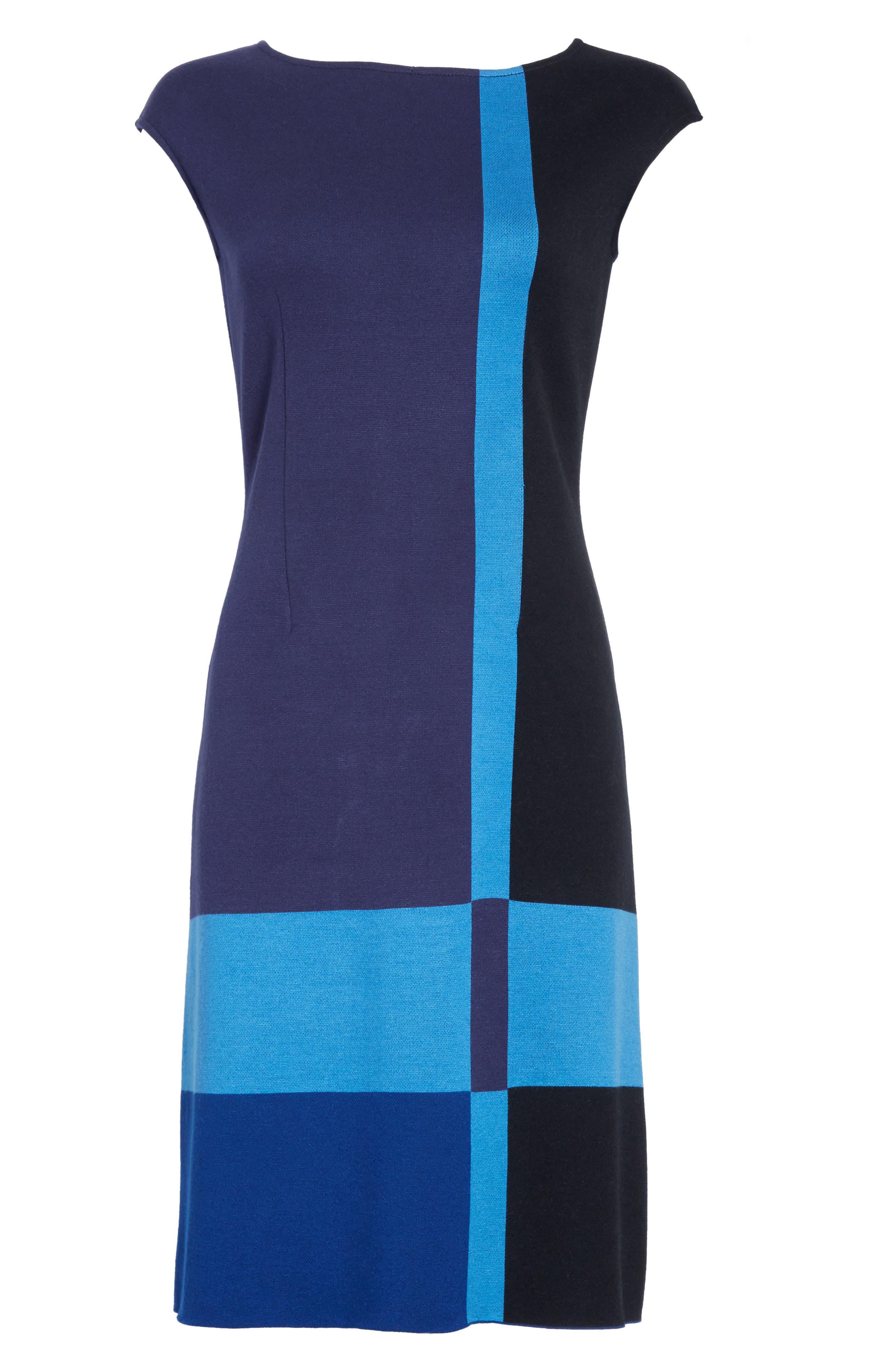 Colorblock Milano Knit Dress,                             Alternate thumbnail 6, color,                             Navy Multi
