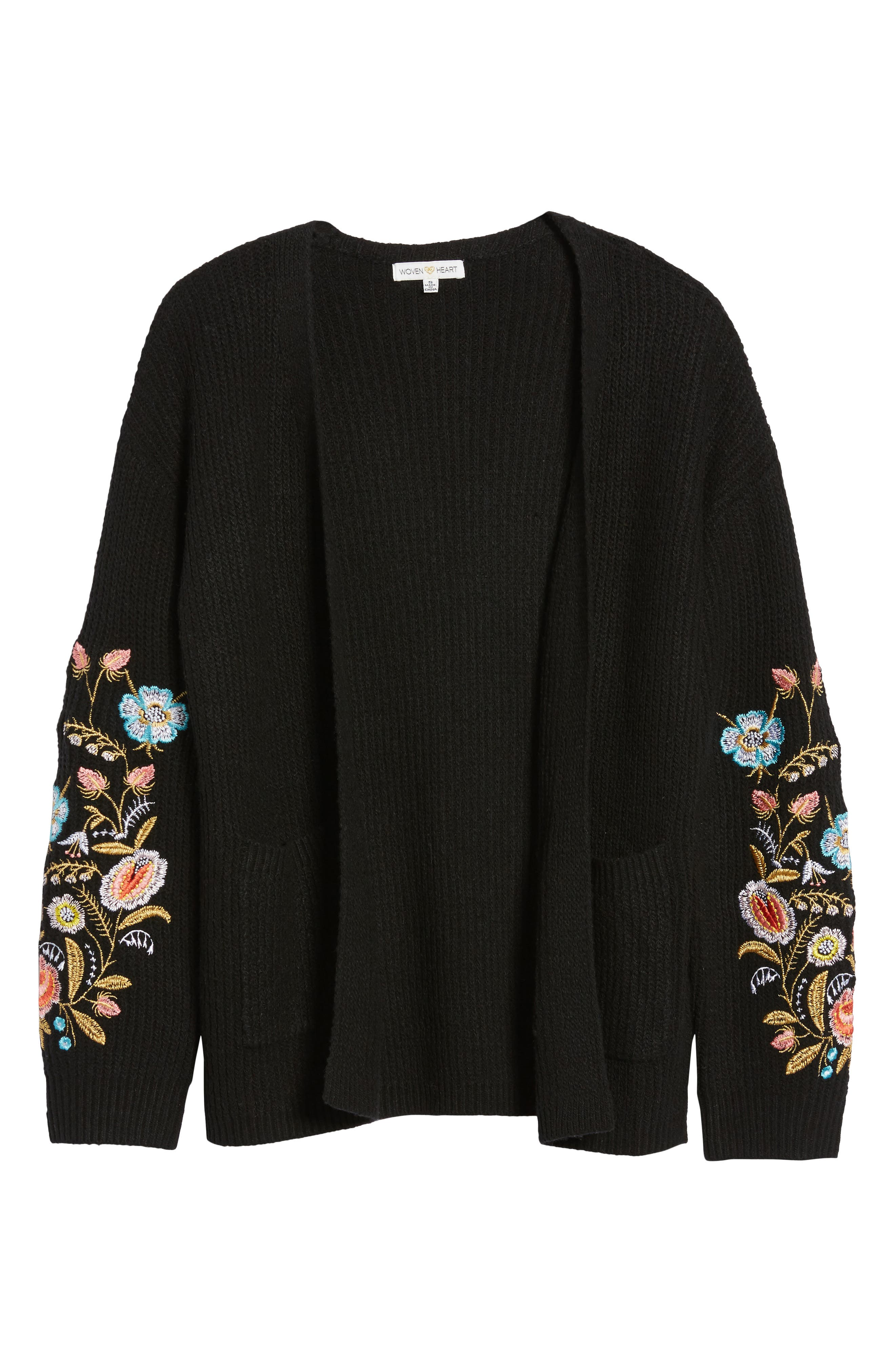 Embroidered Cardigan,                             Alternate thumbnail 6, color,                             Black