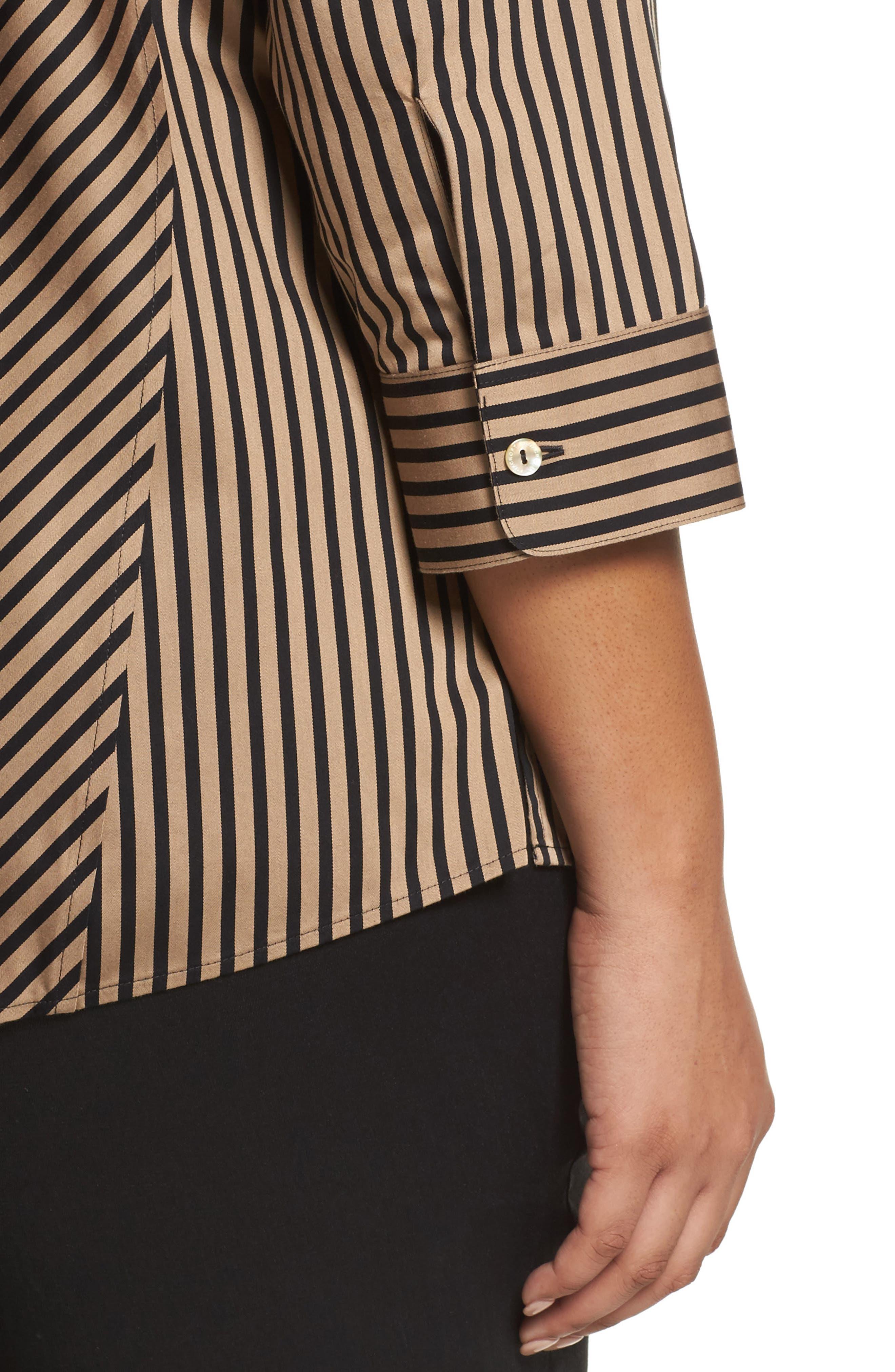Alternate Image 4  - Foxcroft Fallon Satin Stripe Cotton Shirt (Plus Size)