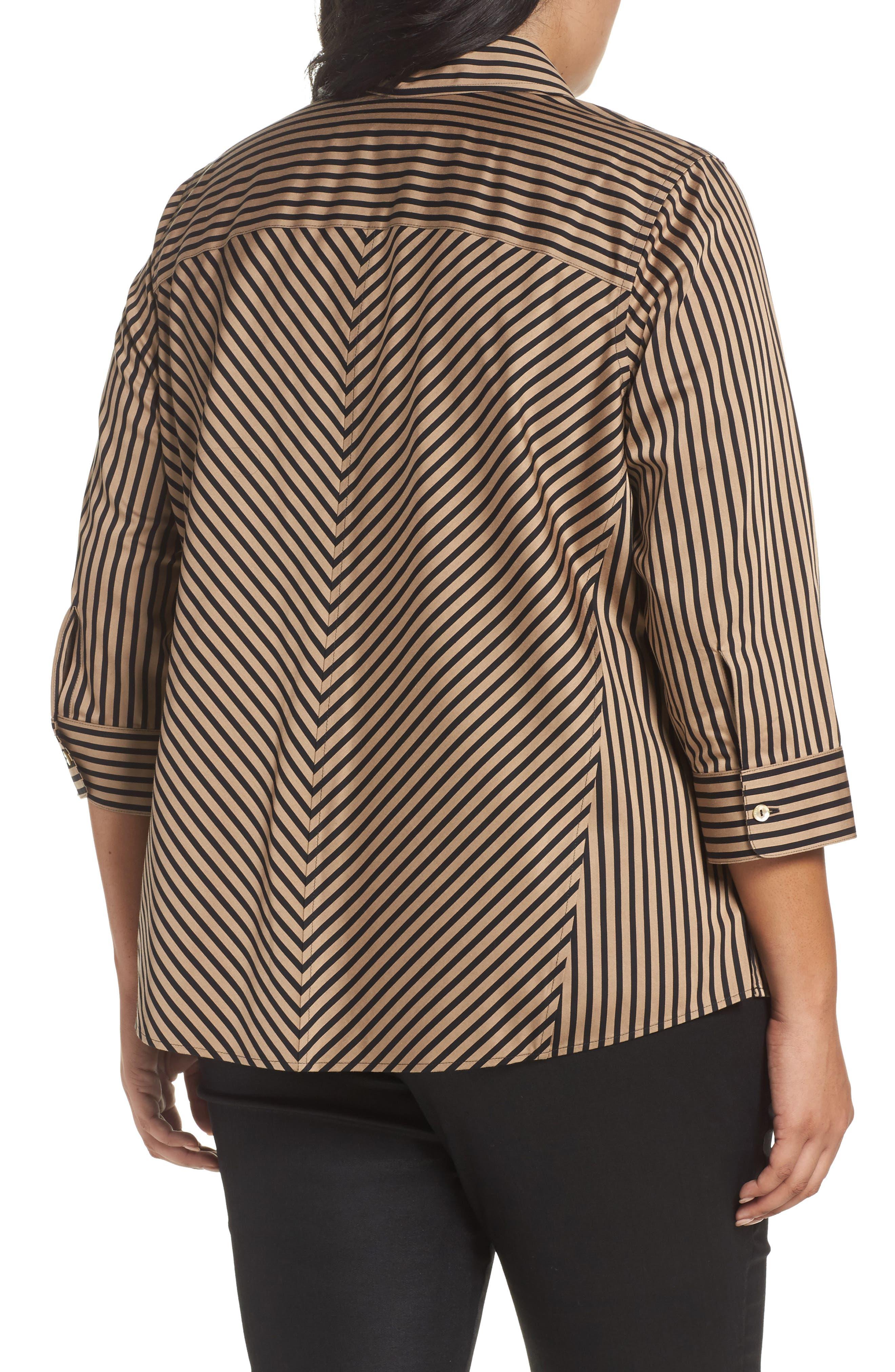 Alternate Image 2  - Foxcroft Fallon Satin Stripe Cotton Shirt (Plus Size)