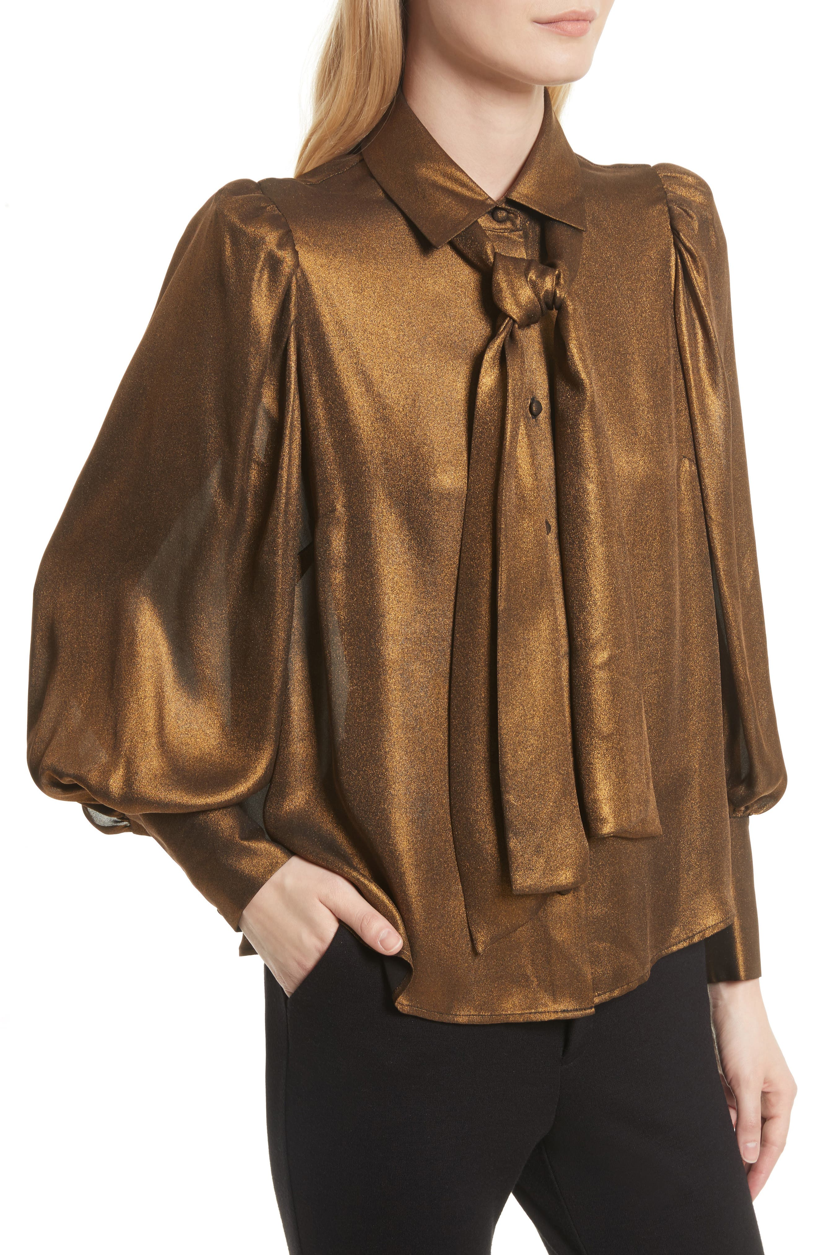 Voluminous Scarf Blouse,                             Alternate thumbnail 5, color,                             Gold