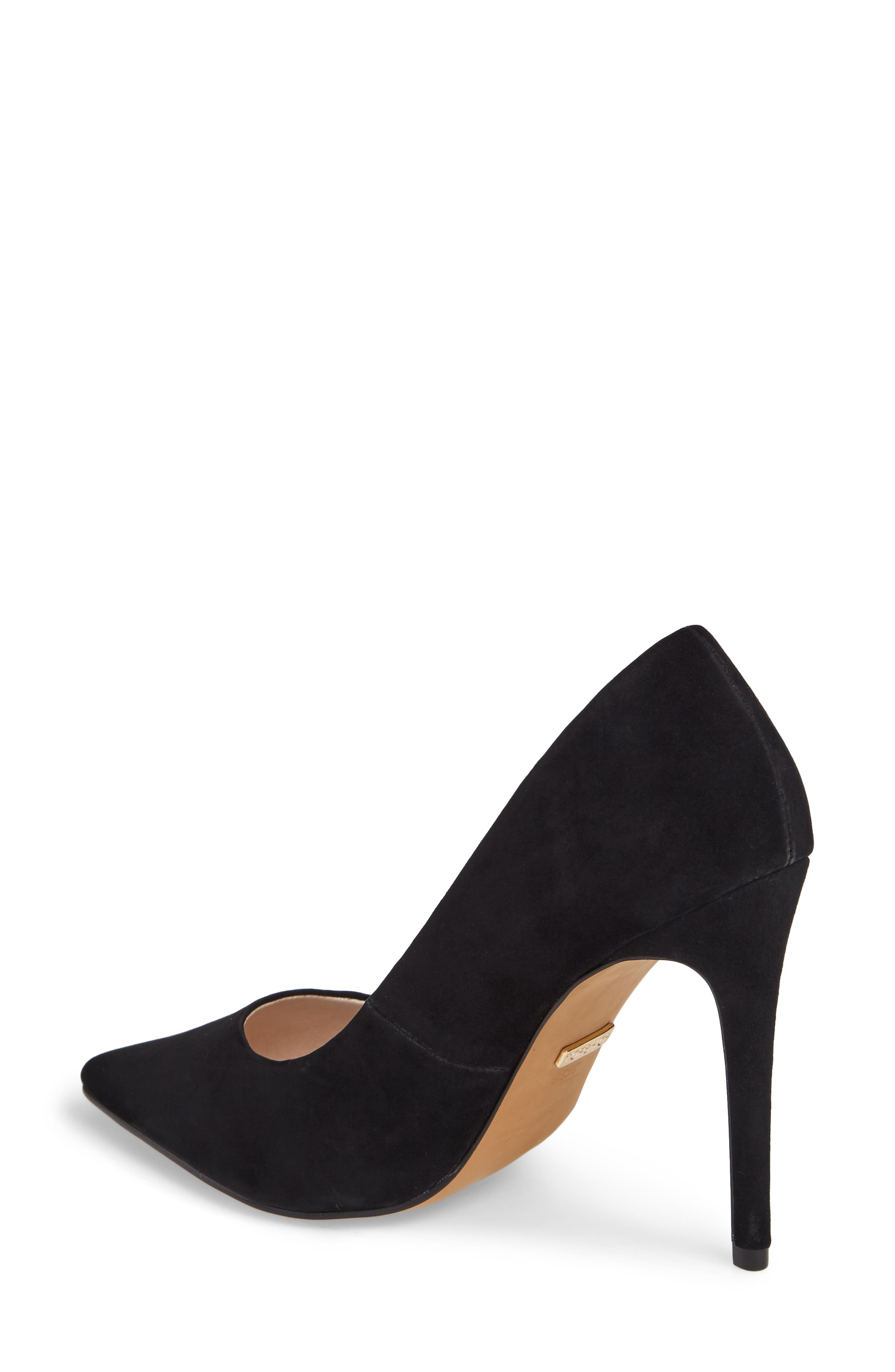 Grammer Pointy Toe Pump,                             Alternate thumbnail 2, color,                             Black Leather