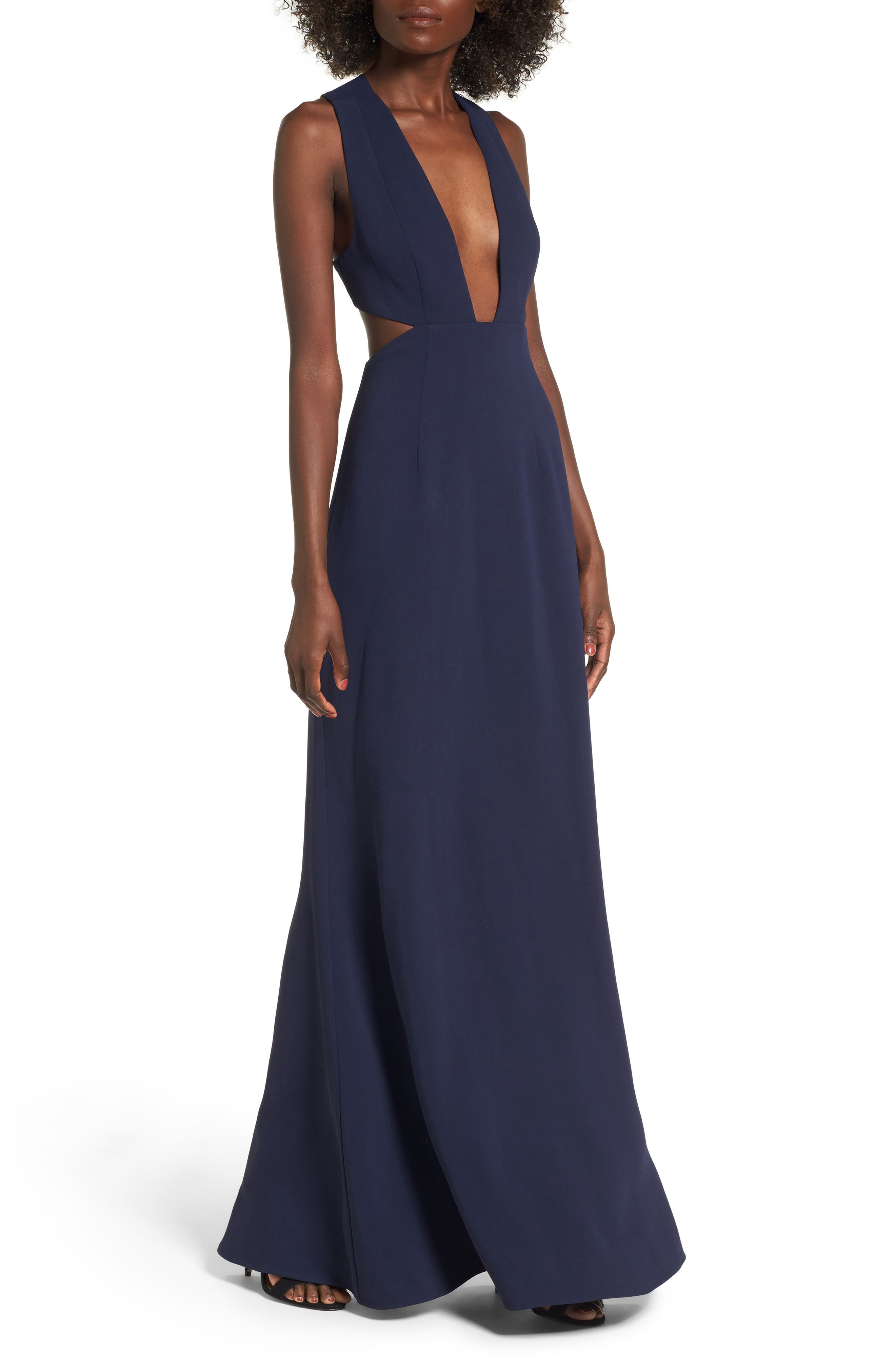 Yani Gown,                             Main thumbnail 1, color,                             Navy
