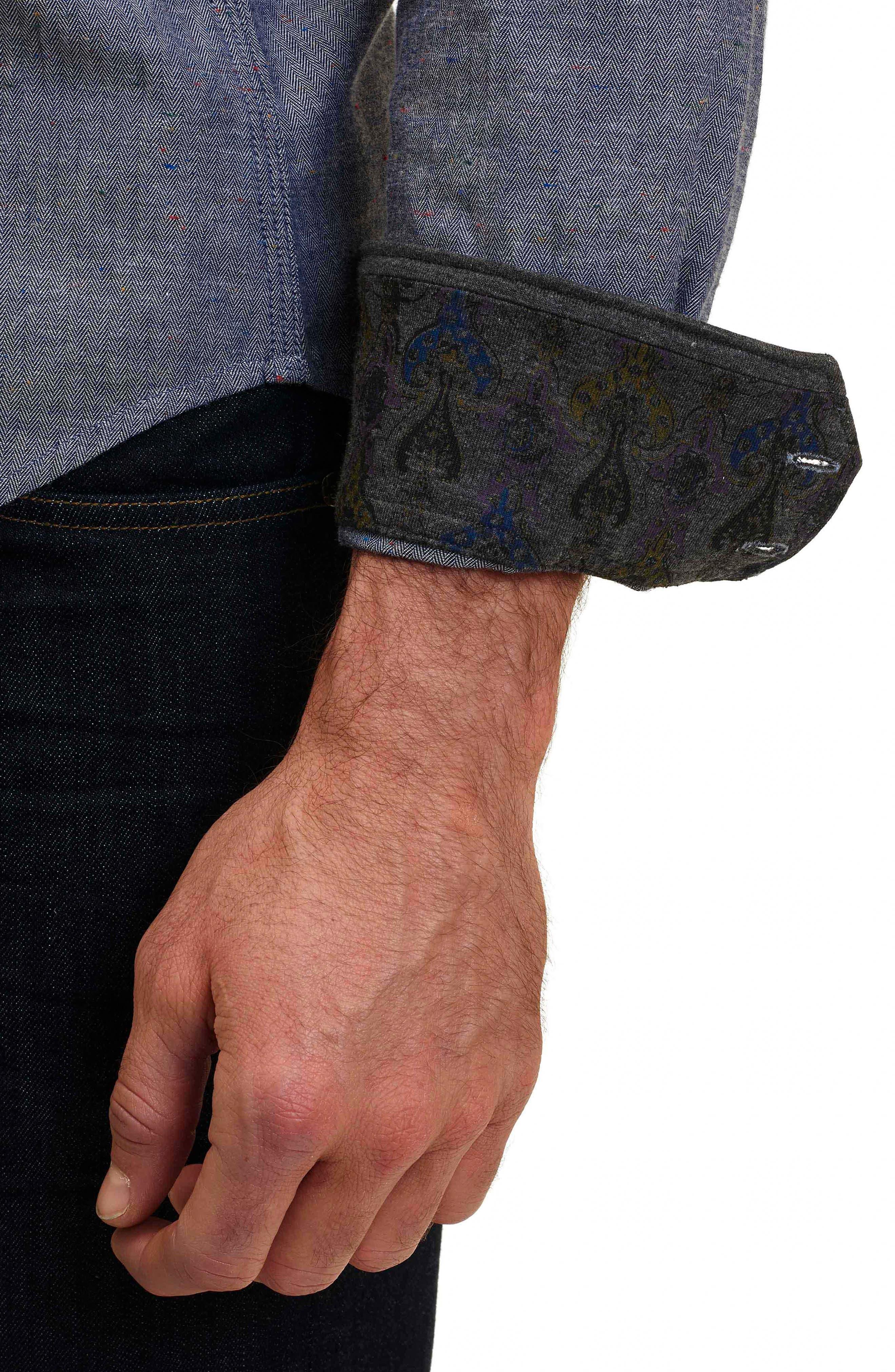 Alternate Image 4  - Robert Graham Upstate Classic Fit Herringbone Sport Shirt