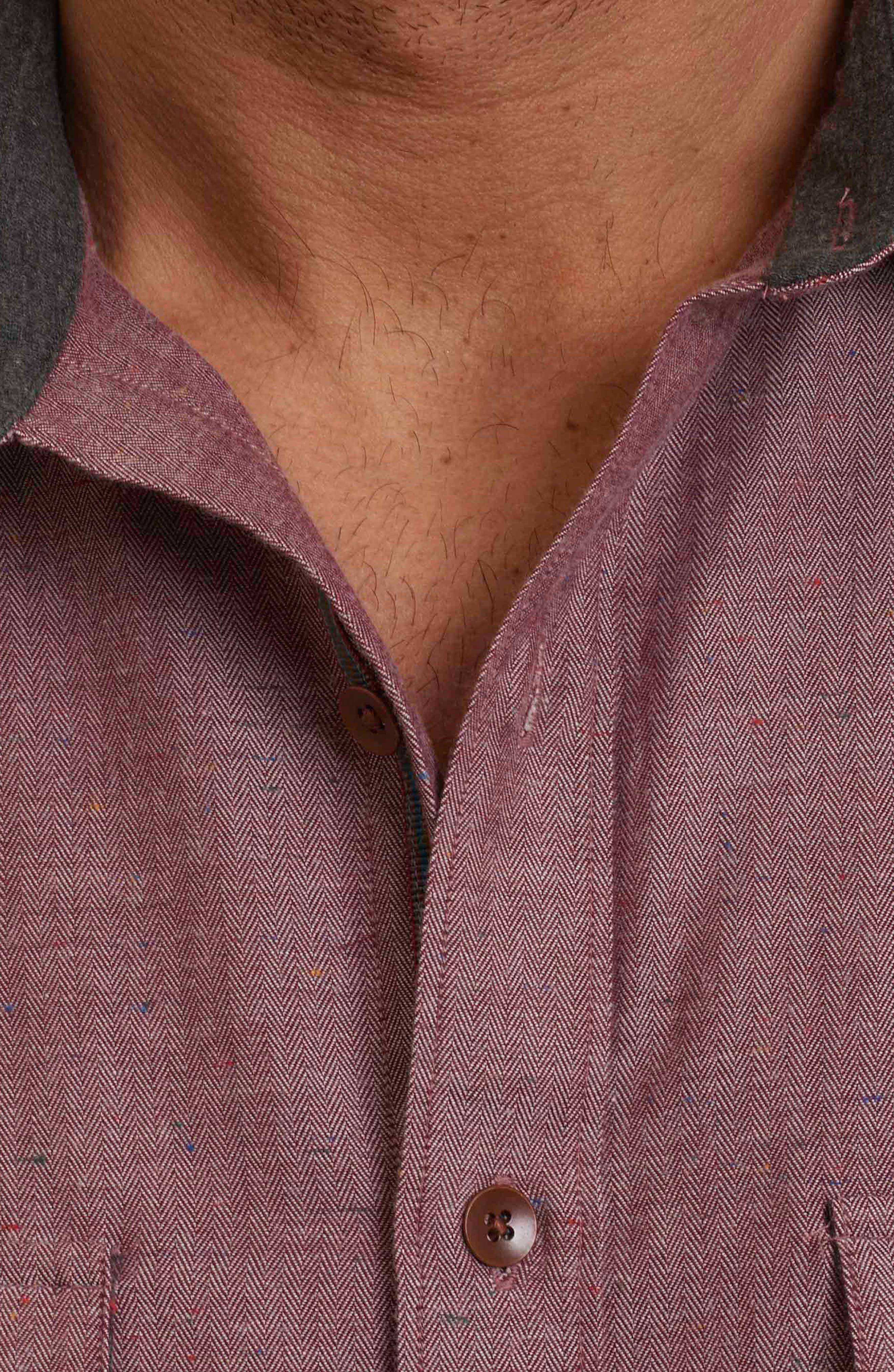 Upstate Classic Fit Herringbone Sport Shirt,                             Alternate thumbnail 5, color,                             Red