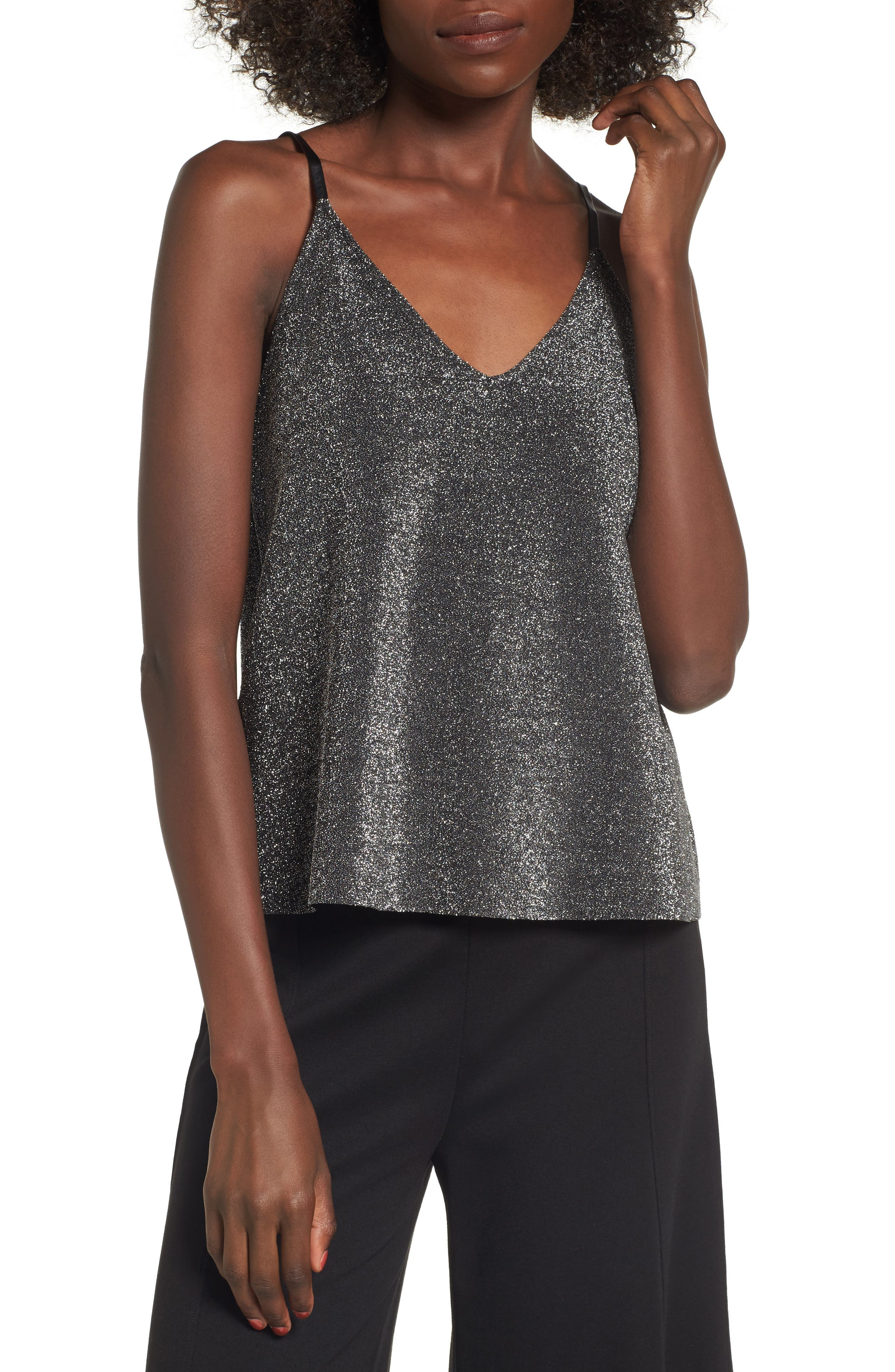 Shimmer Camisole,                         Main,                         color, Metallic Silver