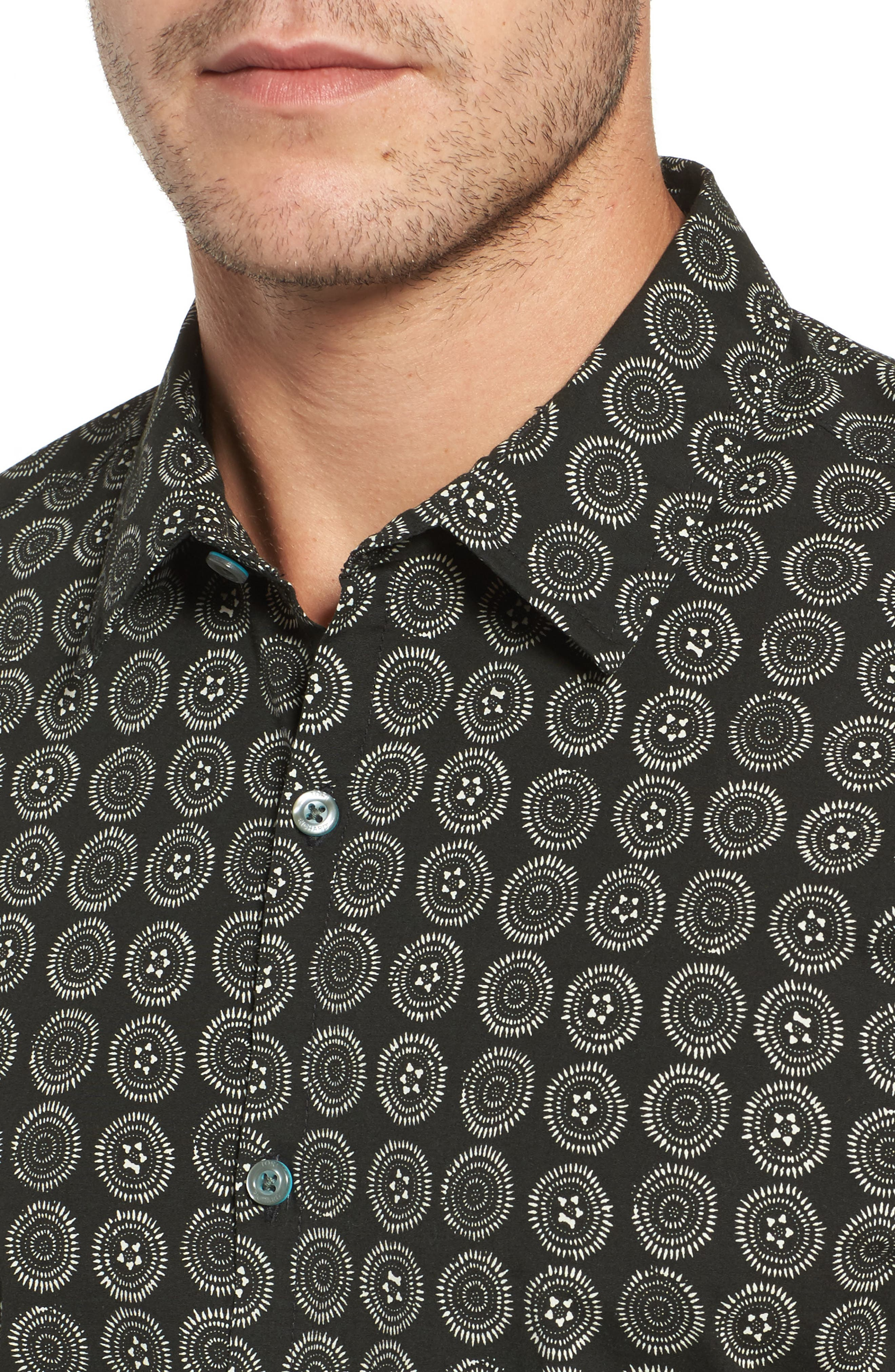Sea Crest Slim Fit Print Camp Shirt,                             Alternate thumbnail 4, color,                             Black
