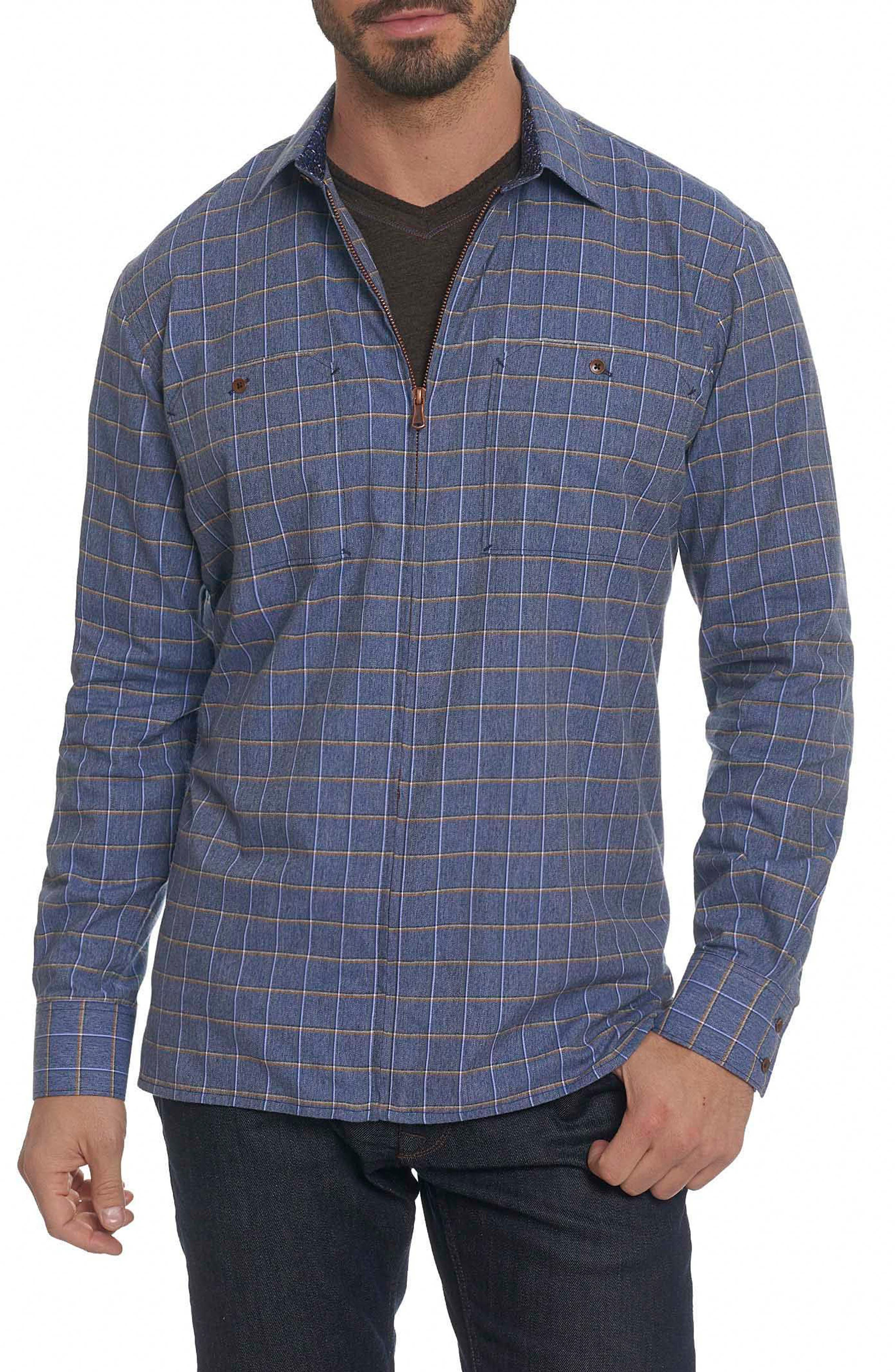Auburn Check Shirt Jacket,                         Main,                         color, Blue