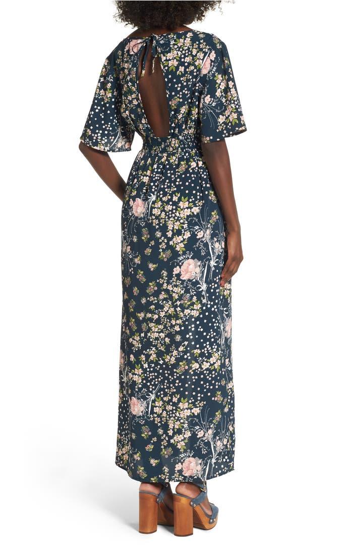 0828ed9e5088 Moody Floral Print Maxi Romper