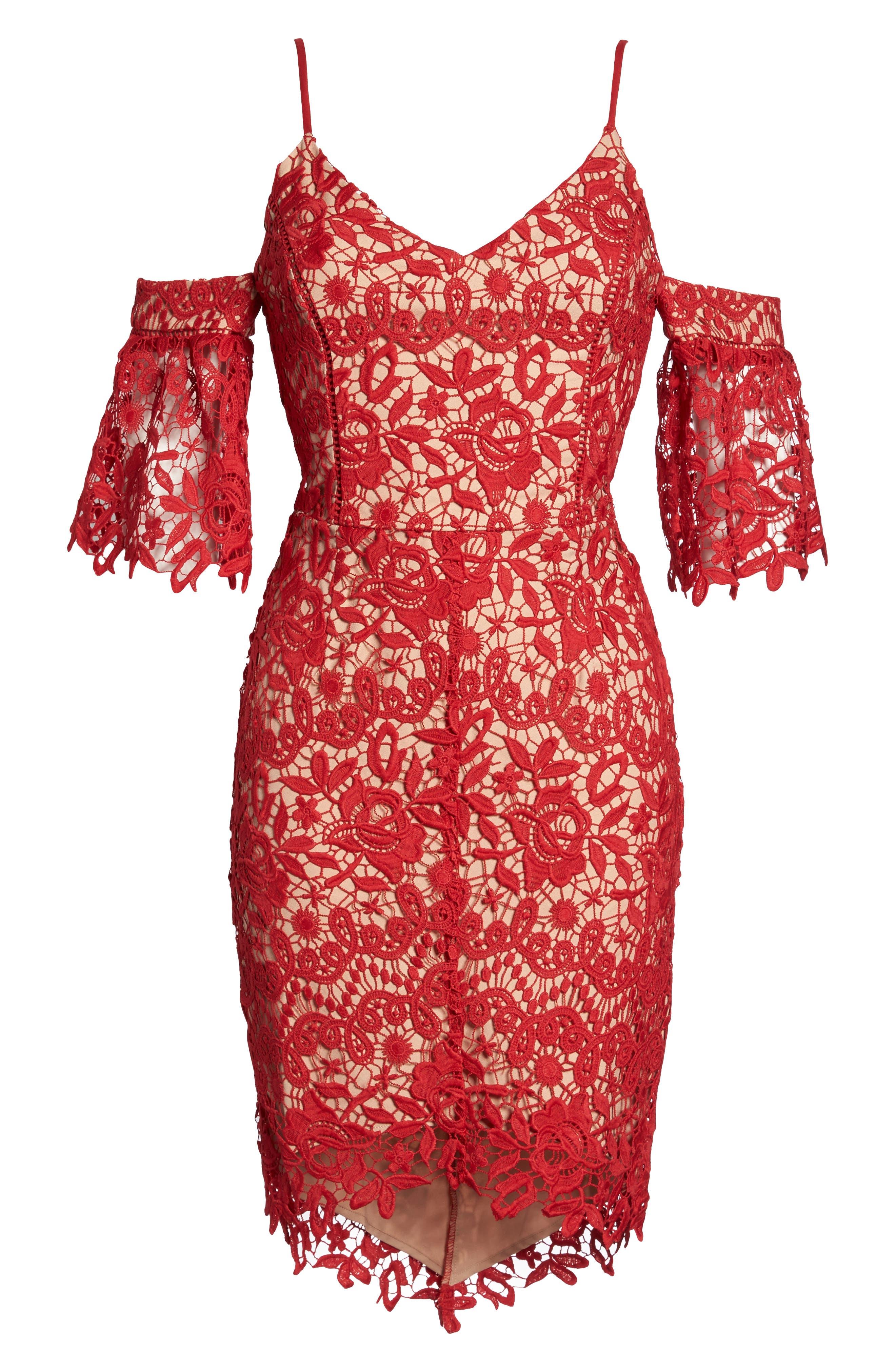 Krista Cold Shoulder Lace Sheath Dress,                             Alternate thumbnail 6, color,                             Red/ Nude