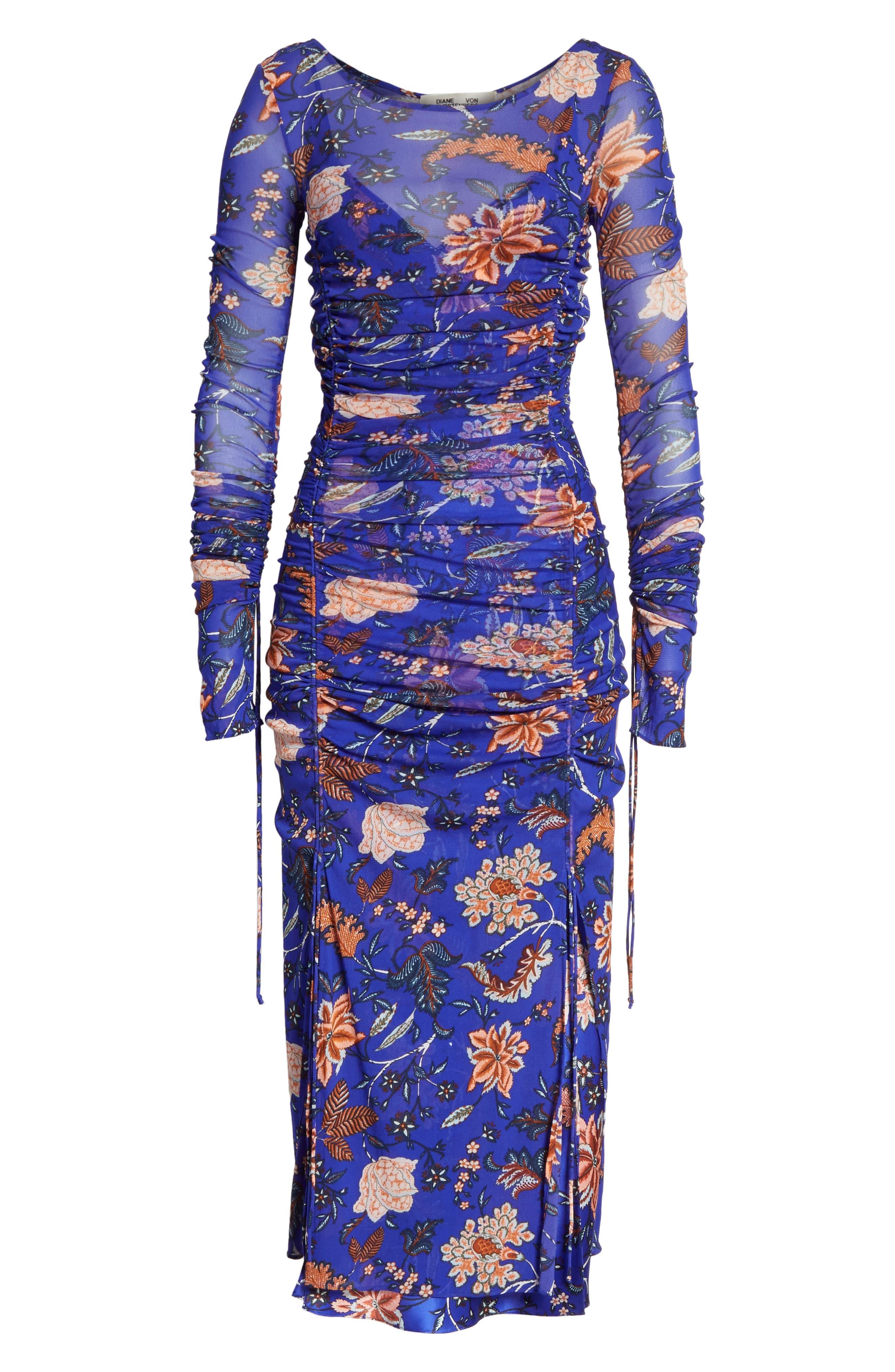 Diane von Furstenberg Mesh Overlay Floral Midi Dress,                             Alternate thumbnail 6, color,                             Canton Electric Blue