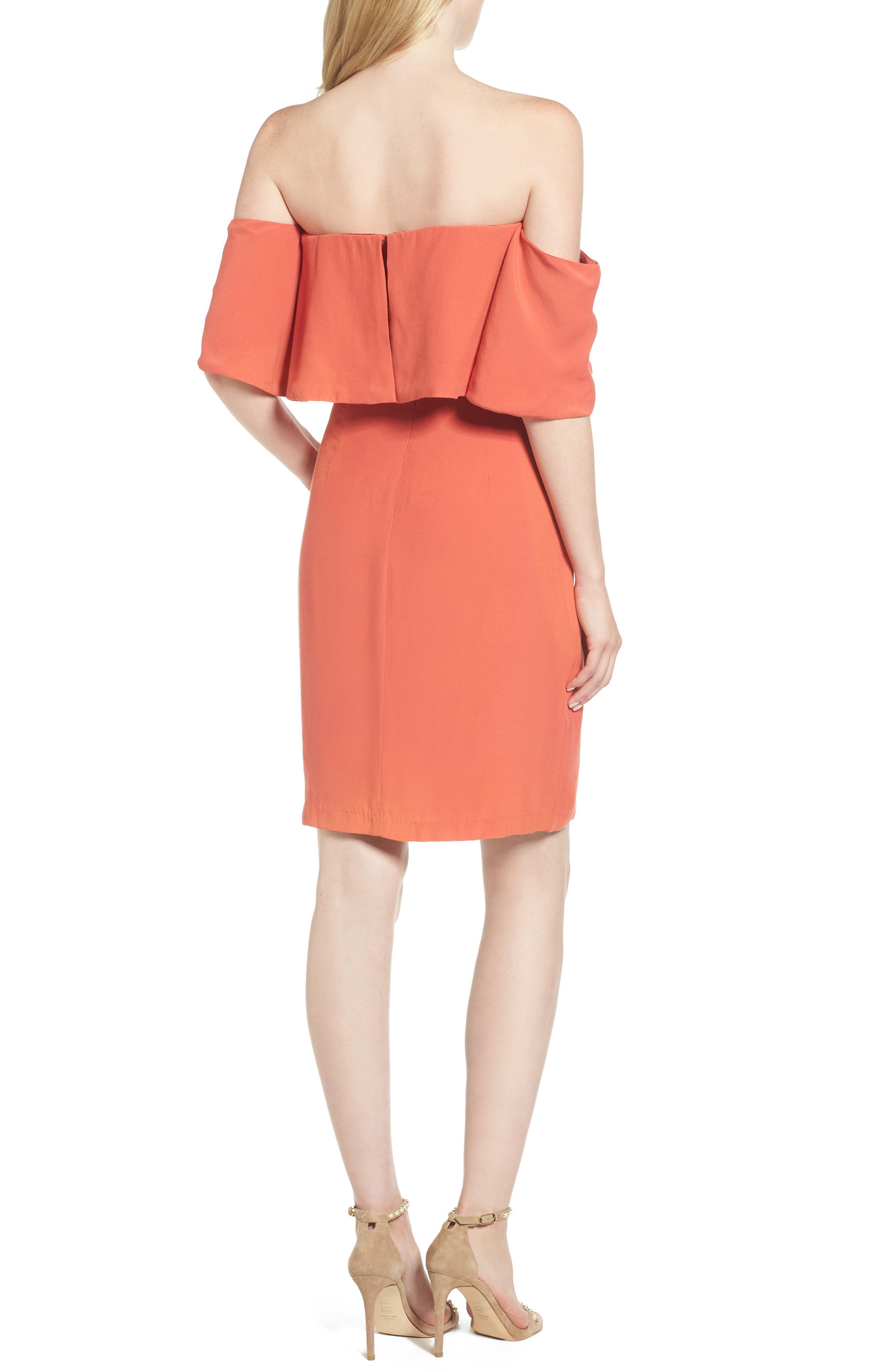 Rudy Off the Shoulder Shift Dress,                             Alternate thumbnail 2, color,                             Persimmon Red