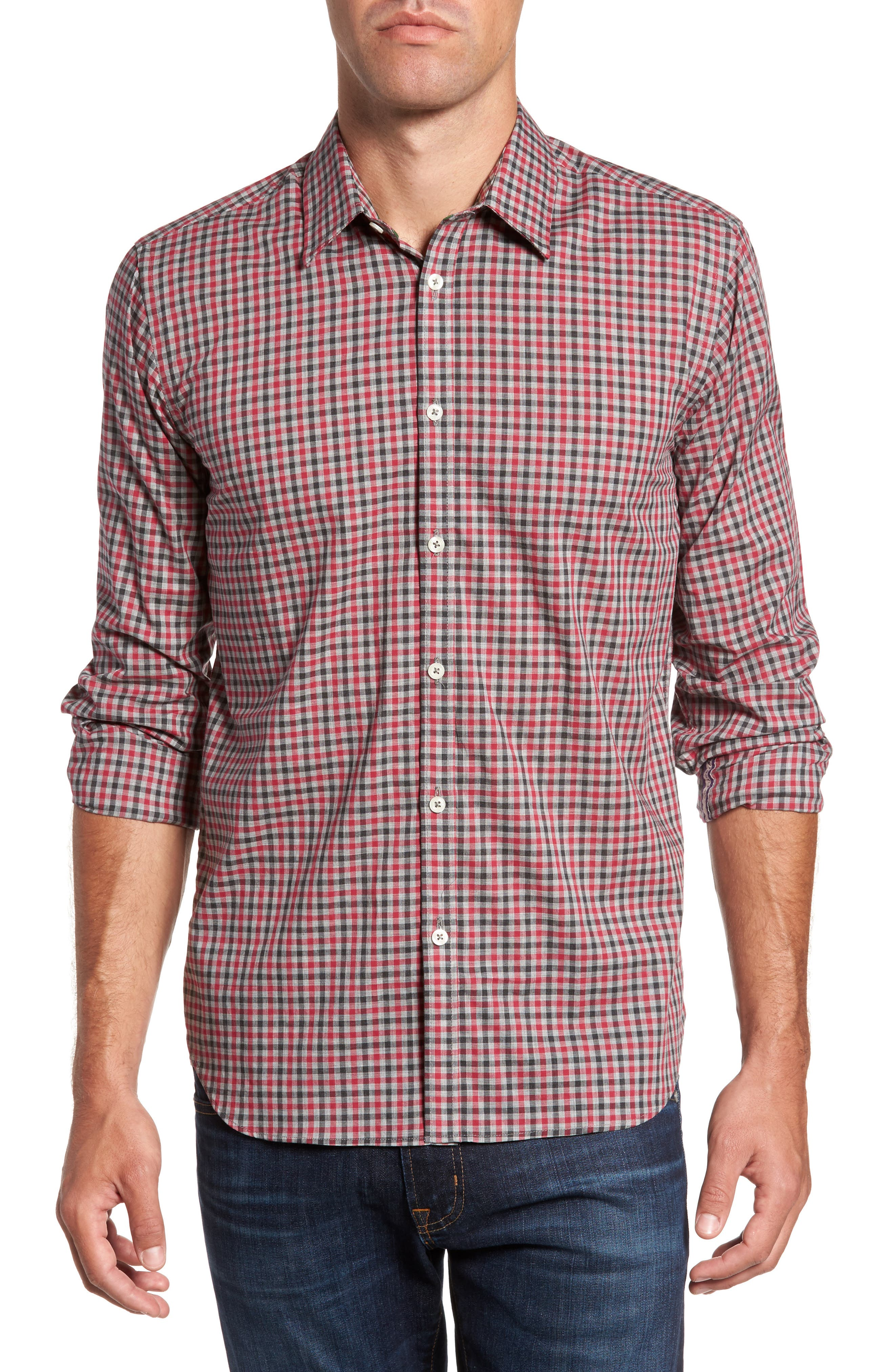 Slim Fit Check Sport Shirt,                             Main thumbnail 1, color,                             Medium Red