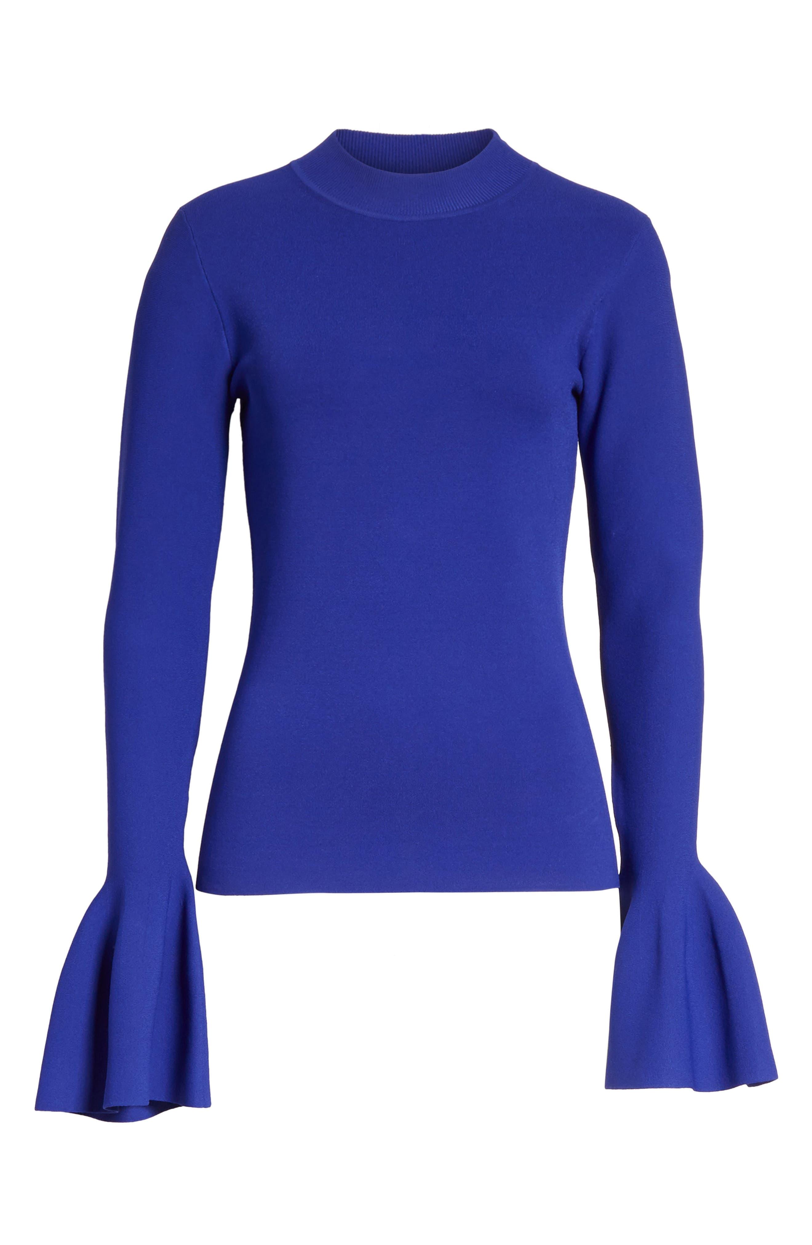 Flutter Sleeve Mock Neck Sweater,                             Alternate thumbnail 6, color,                             Electric Blue