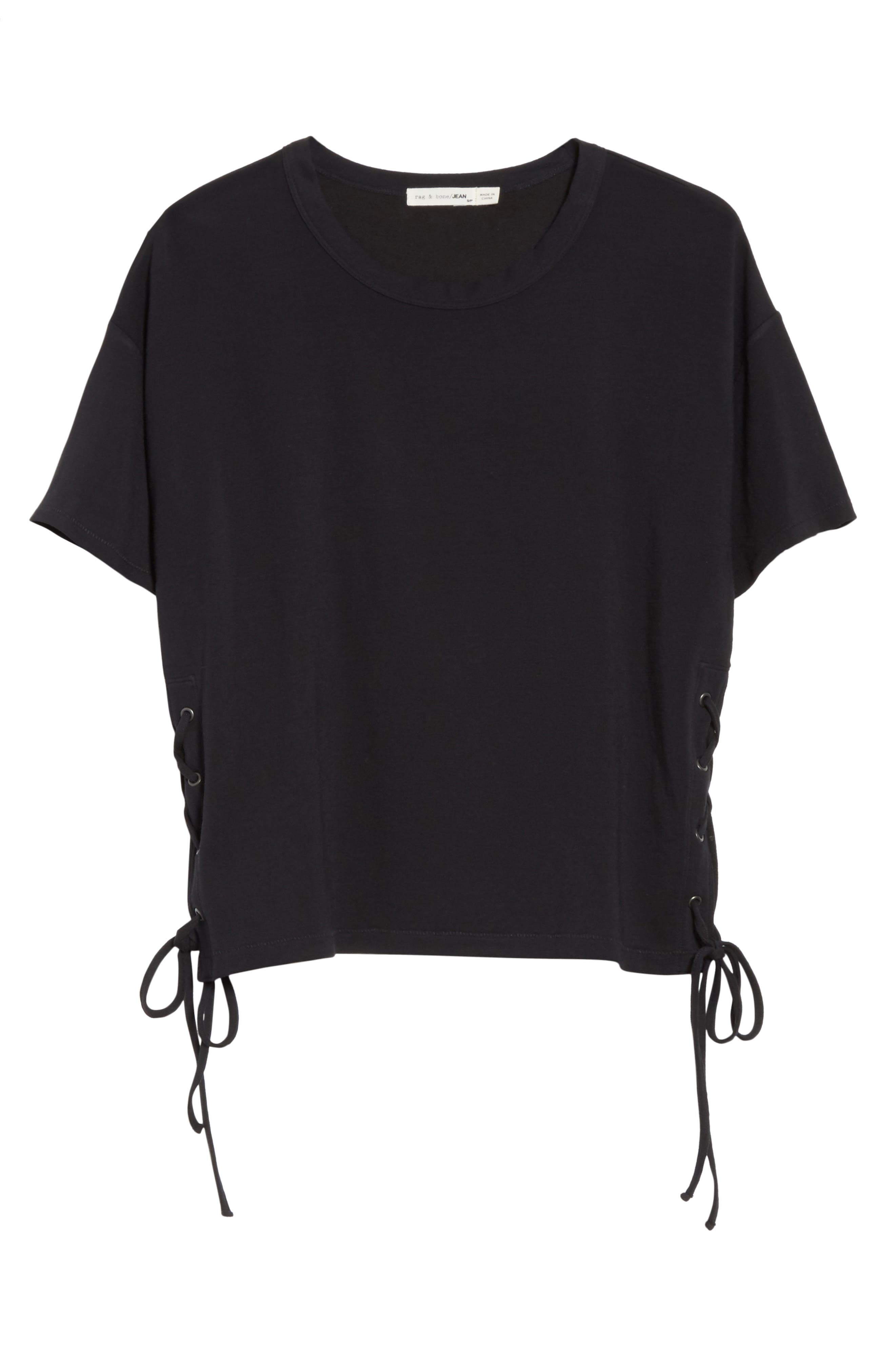 Lace-Up Tee,                             Alternate thumbnail 6, color,                             Black