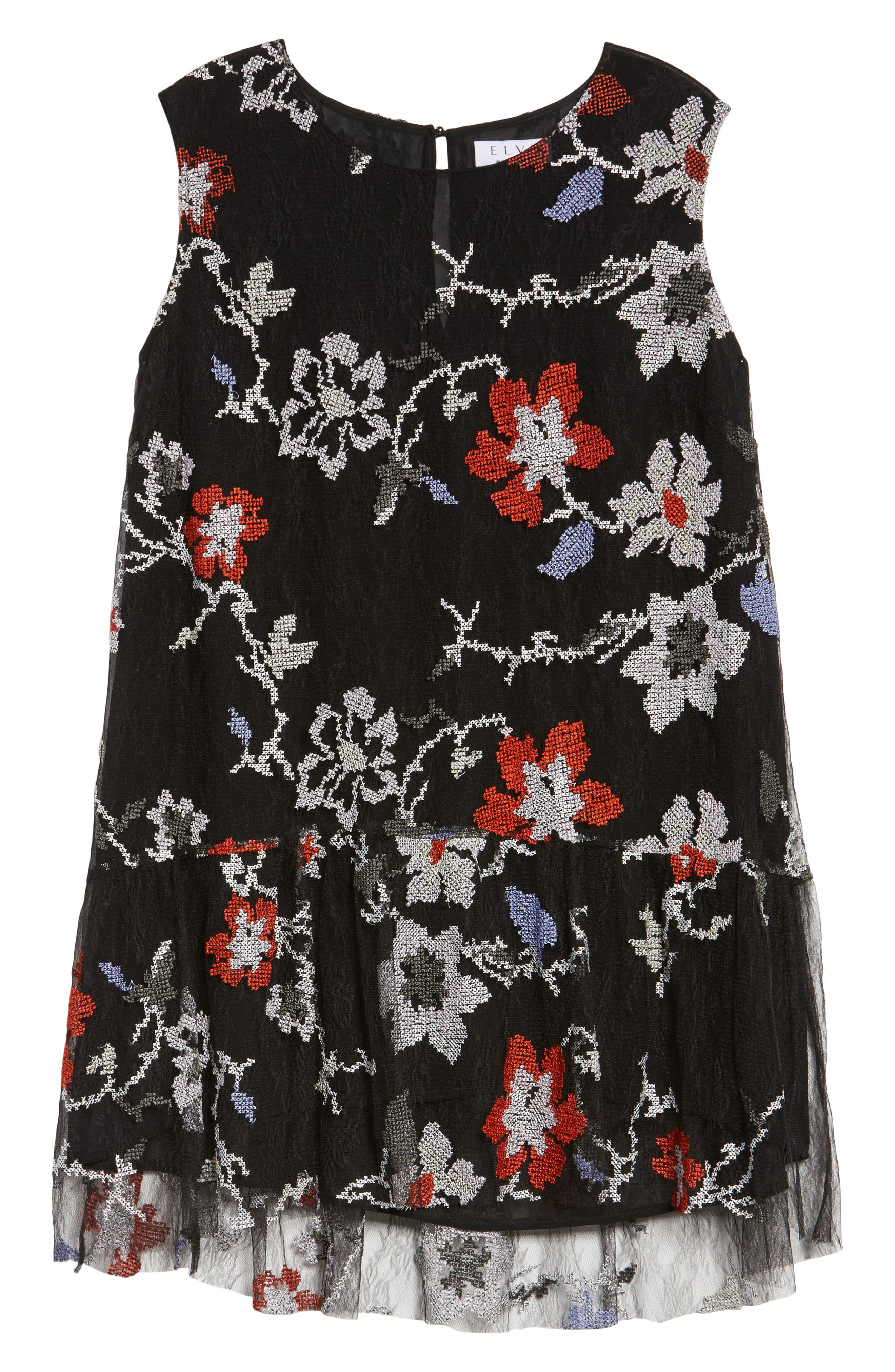 Alternate Image 6  - ELVI Abstract Floral Embroidery Sleeveless Dress (Plus Size)