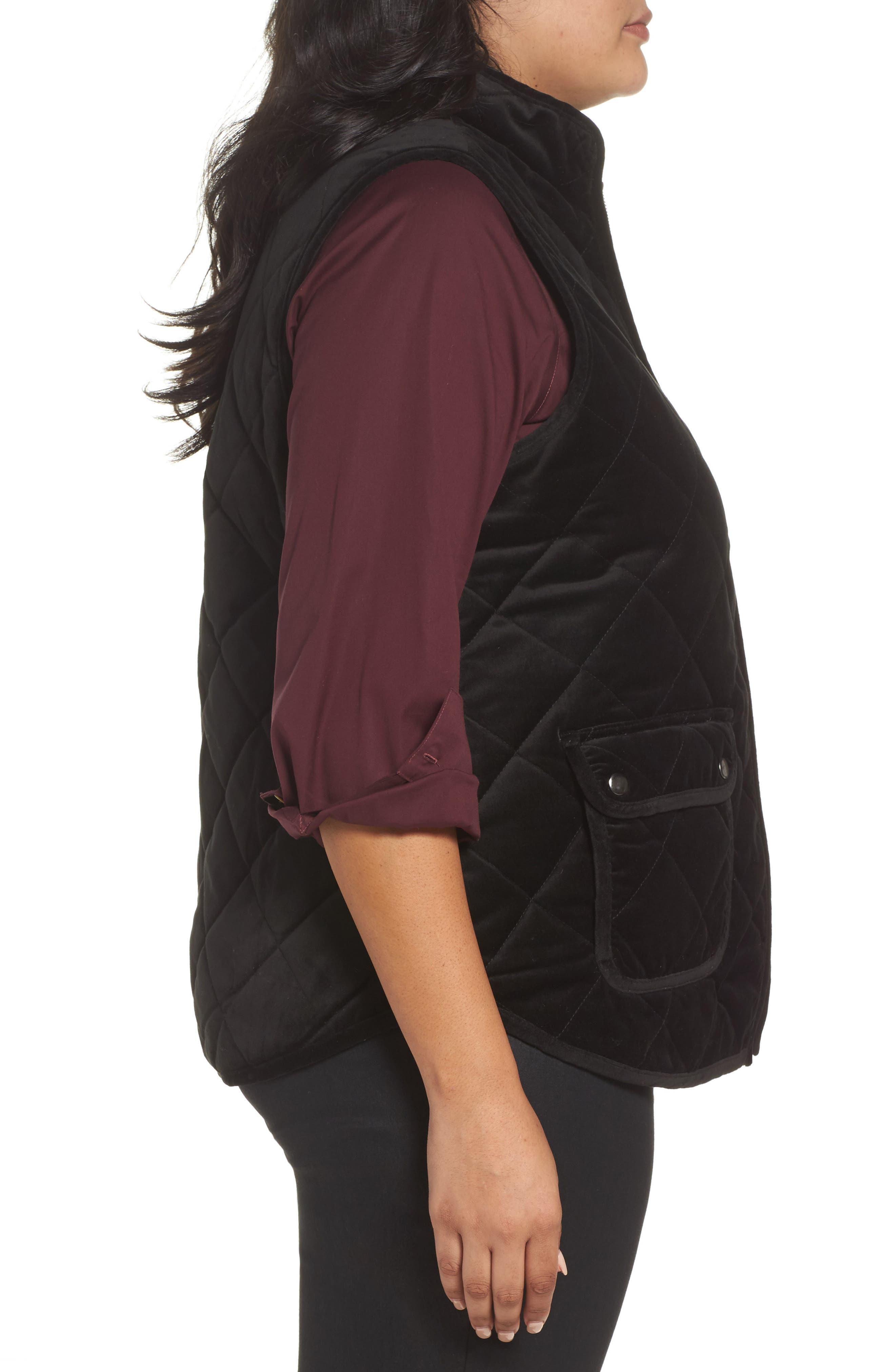 Lena Quilted Velvet Vest,                             Alternate thumbnail 3, color,                             Black
