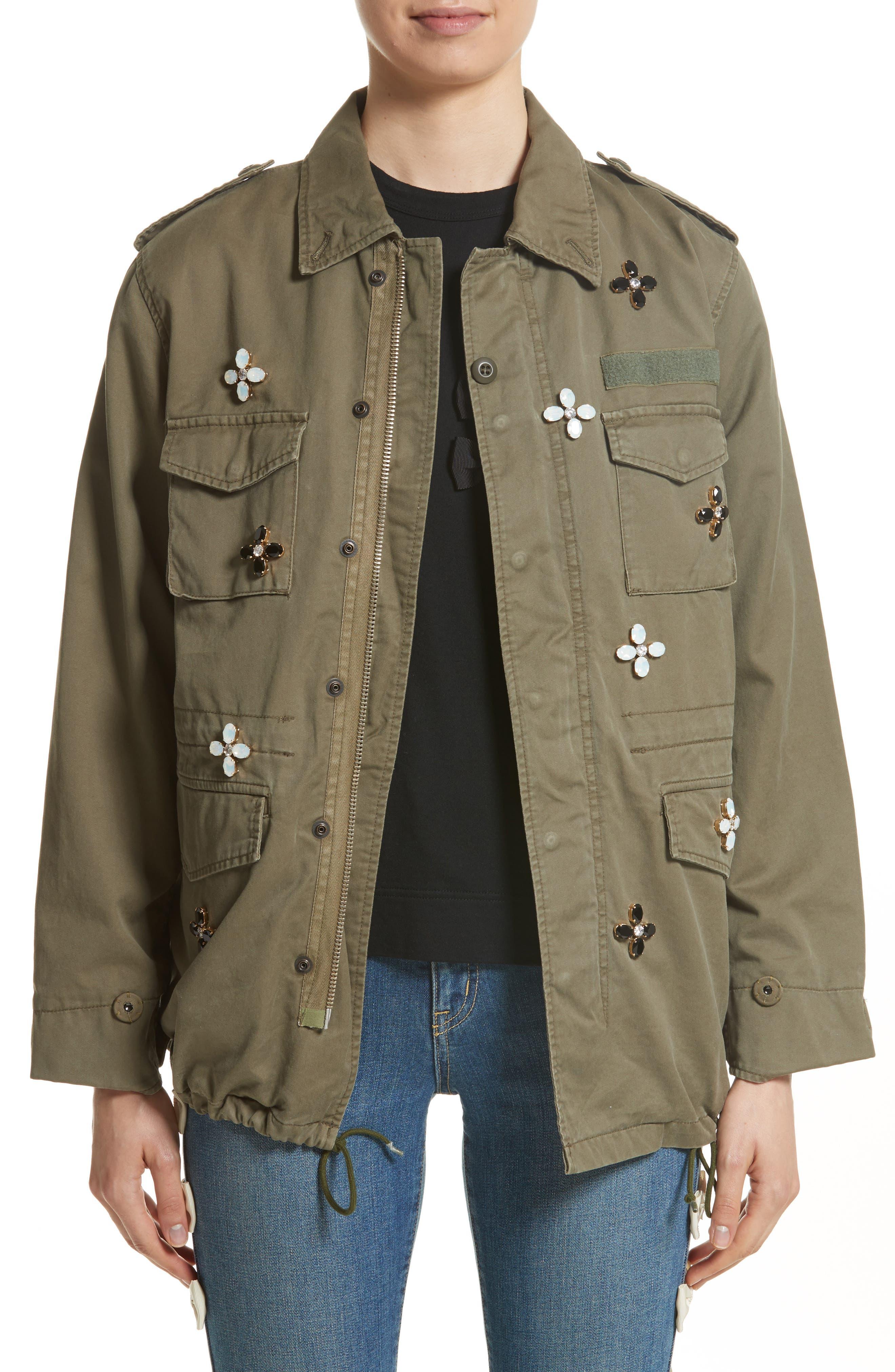 Bijou Flower Field Jacket,                         Main,                         color, Khaki