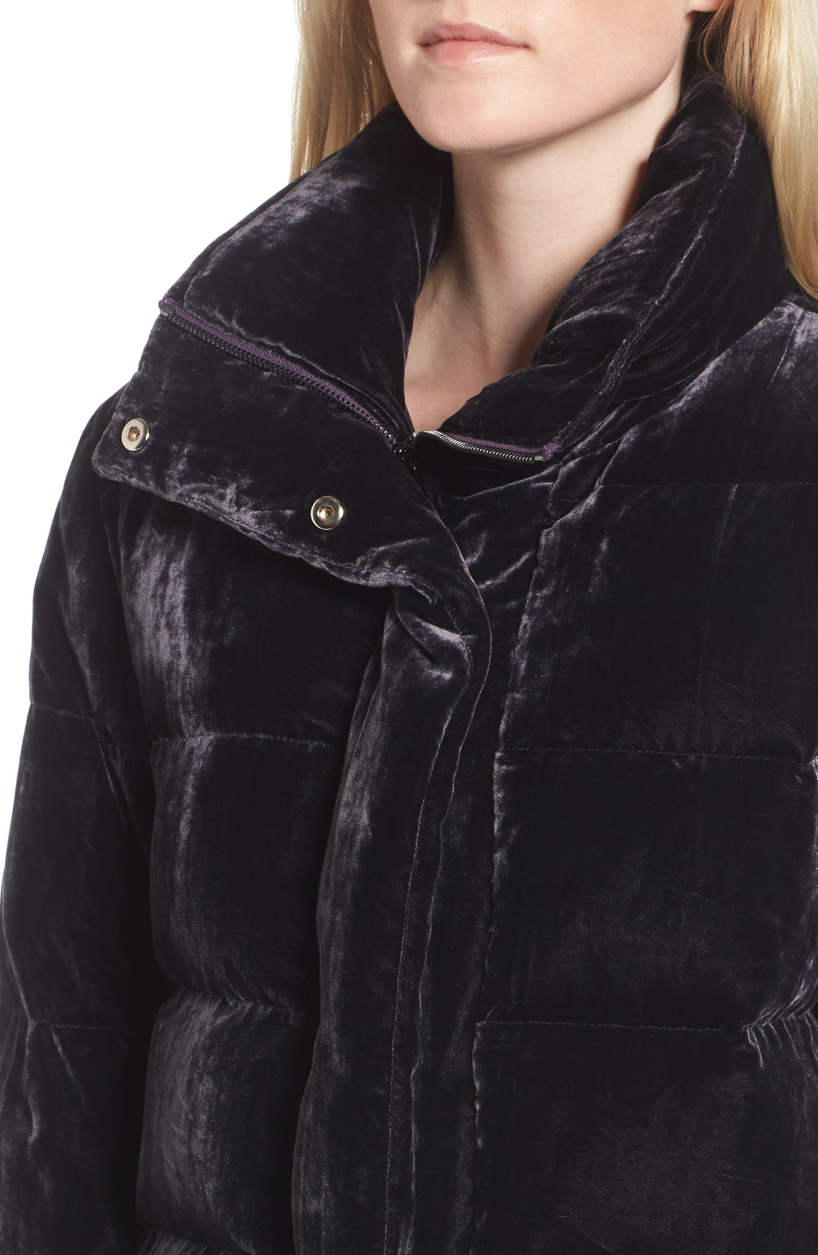 Velvet Puffer Jacket,                             Alternate thumbnail 4, color,                             Purple Night