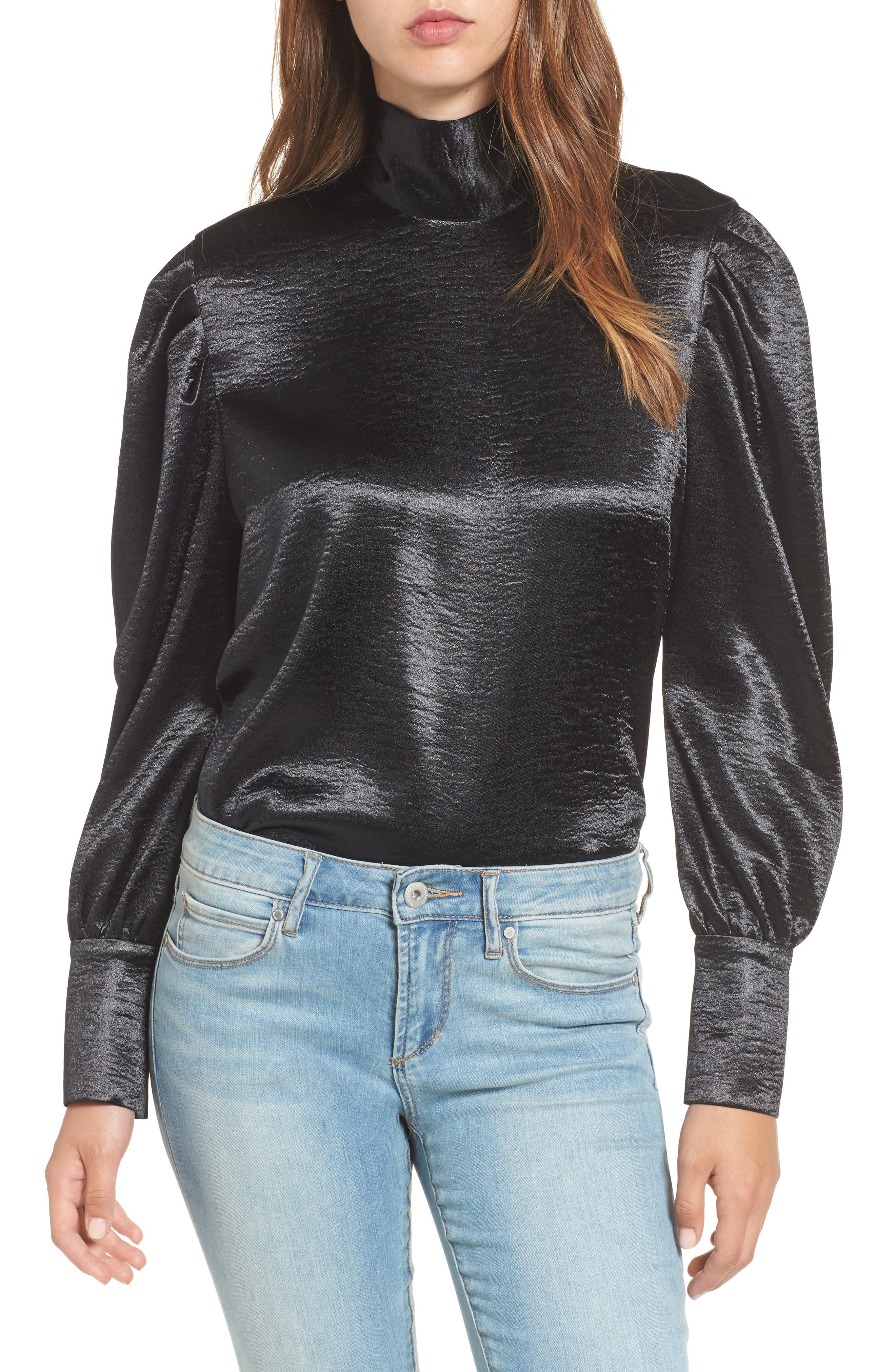 Bloused Sleeve Top,                         Main,                         color, Black