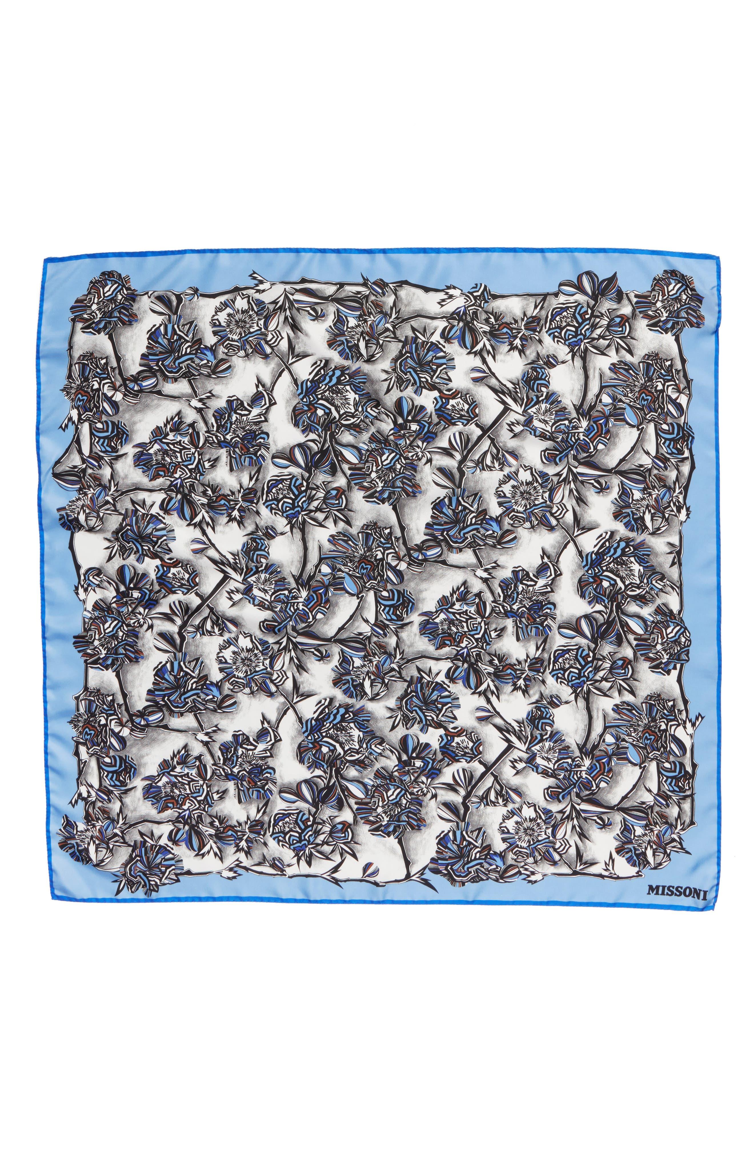 Floral Print Square Silk Scarf,                         Main,                         color, Blue