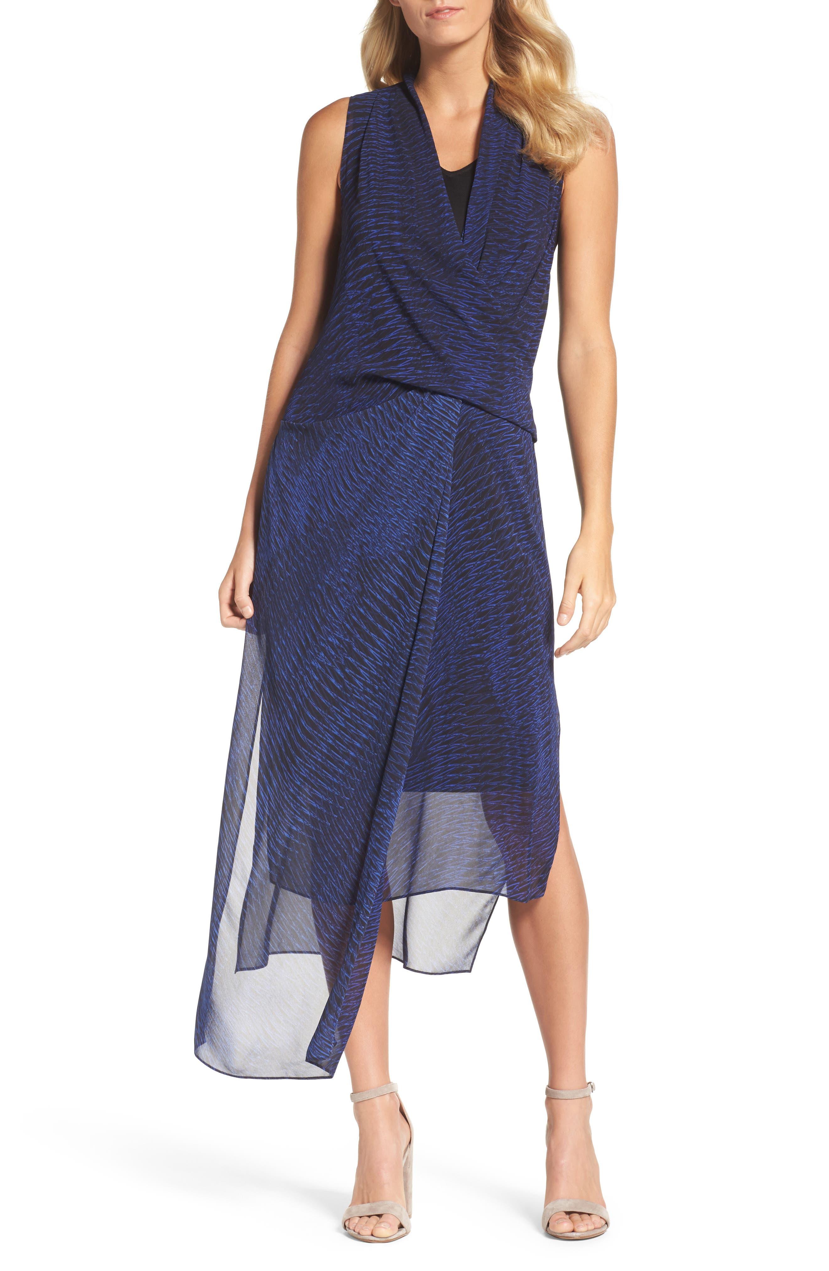Blue Streaks Midi Dress,                         Main,                         color, Blue Roma