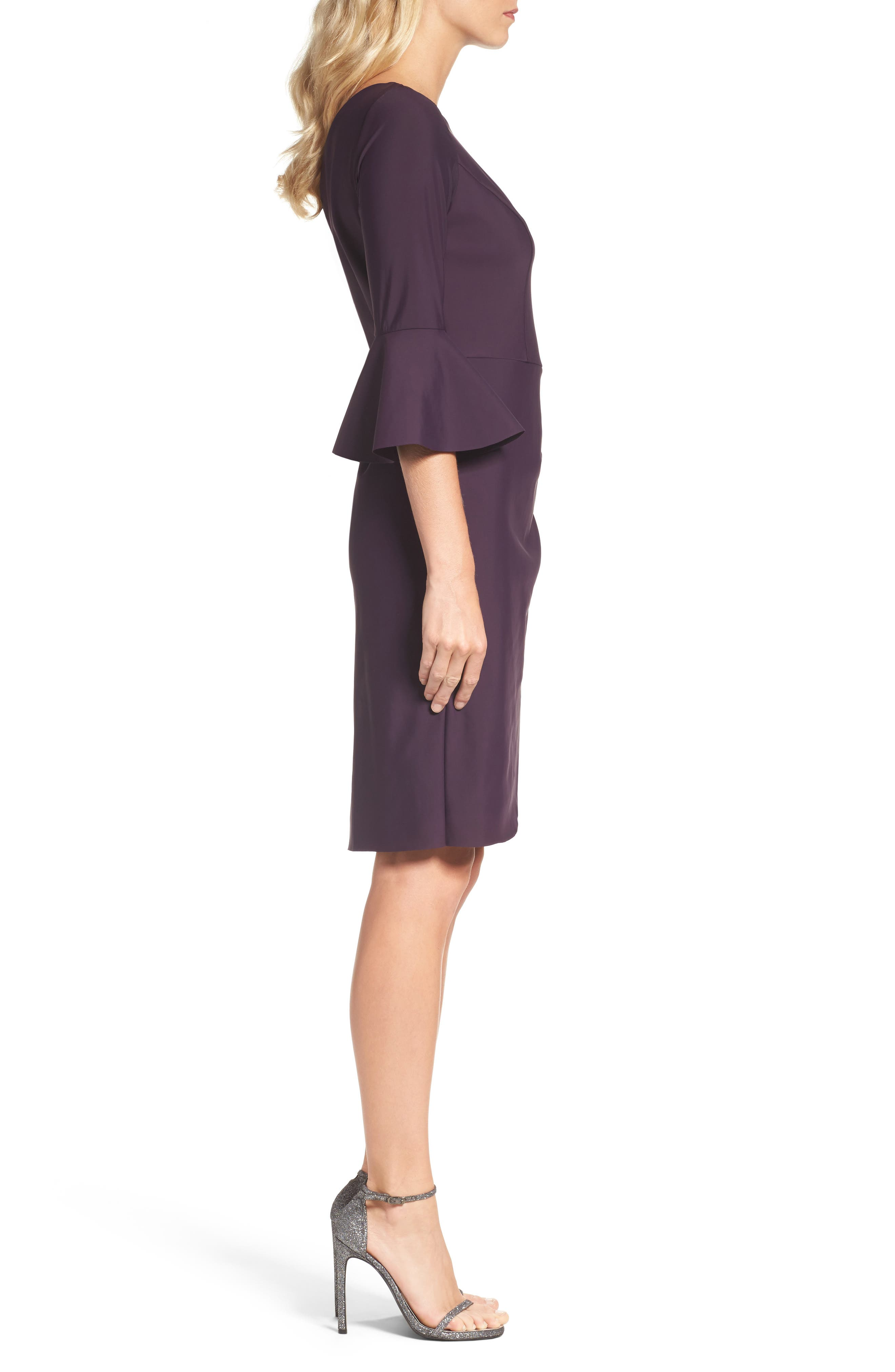 Alternate Image 3  - Alex Evenings Bell Sleeve Sheath Dress (Regular & Petite)